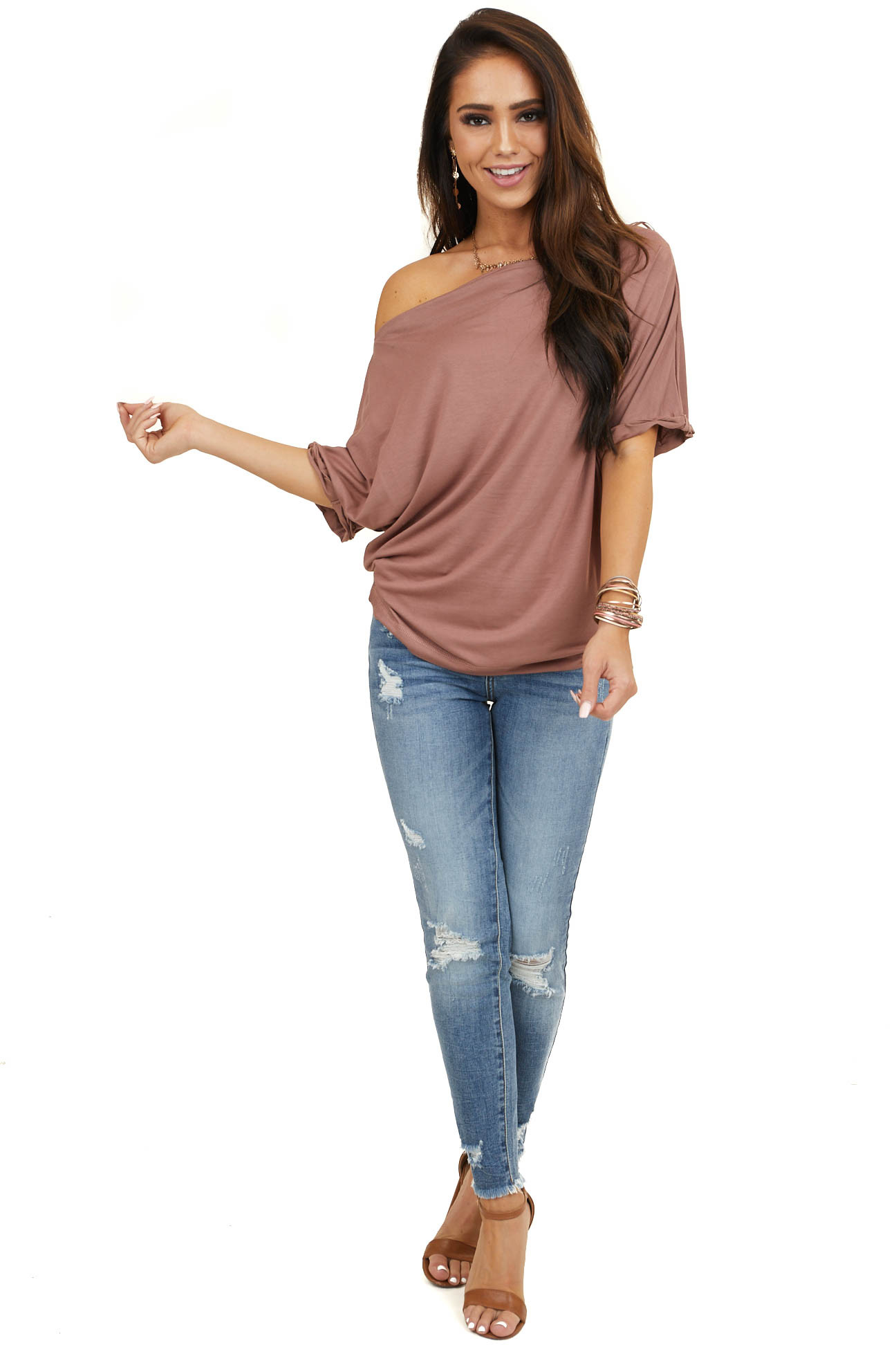 Dusty Rose Off Shoulder Knit Top with Cuffed Short Sleeves
