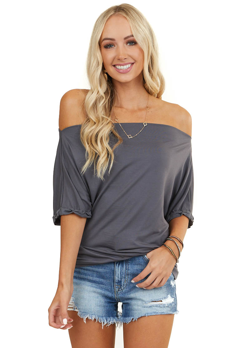 Stone Grey Off Shoulder Knit Top with Cuffed Short Sleeves