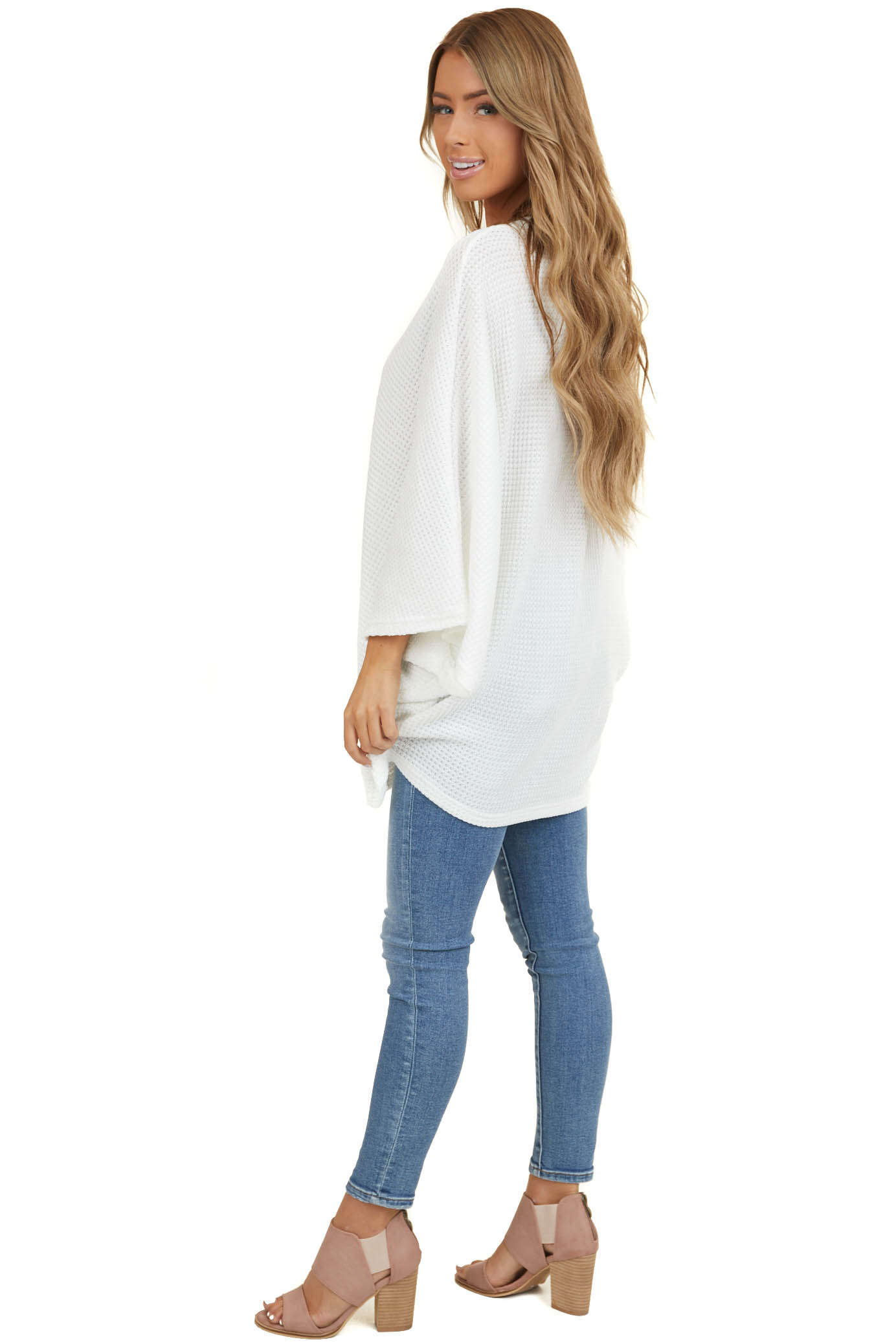 Off White Waffle Knit Cardigan with Wide Kimono Sleeves