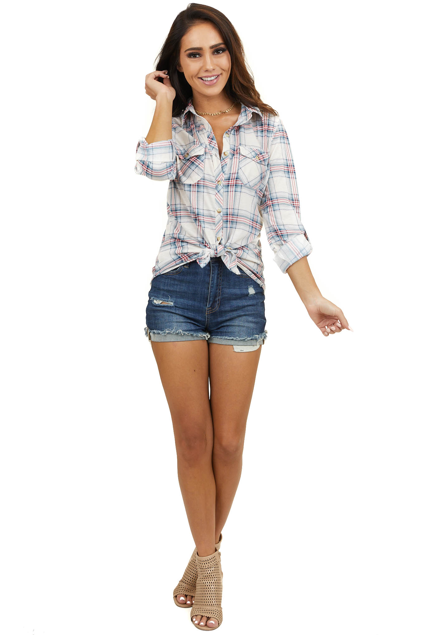 Ivory and Red Plaid Button Up Top with Chest Pockets