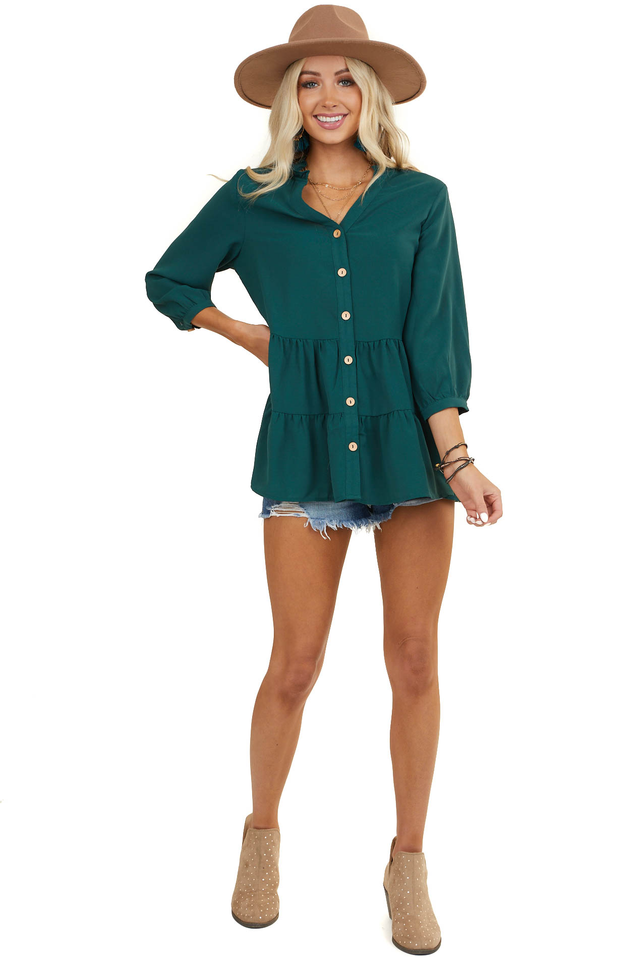 pine-green-tiered-blouse-with-front-buttons-and-3/4-sleeves-front-_07302020