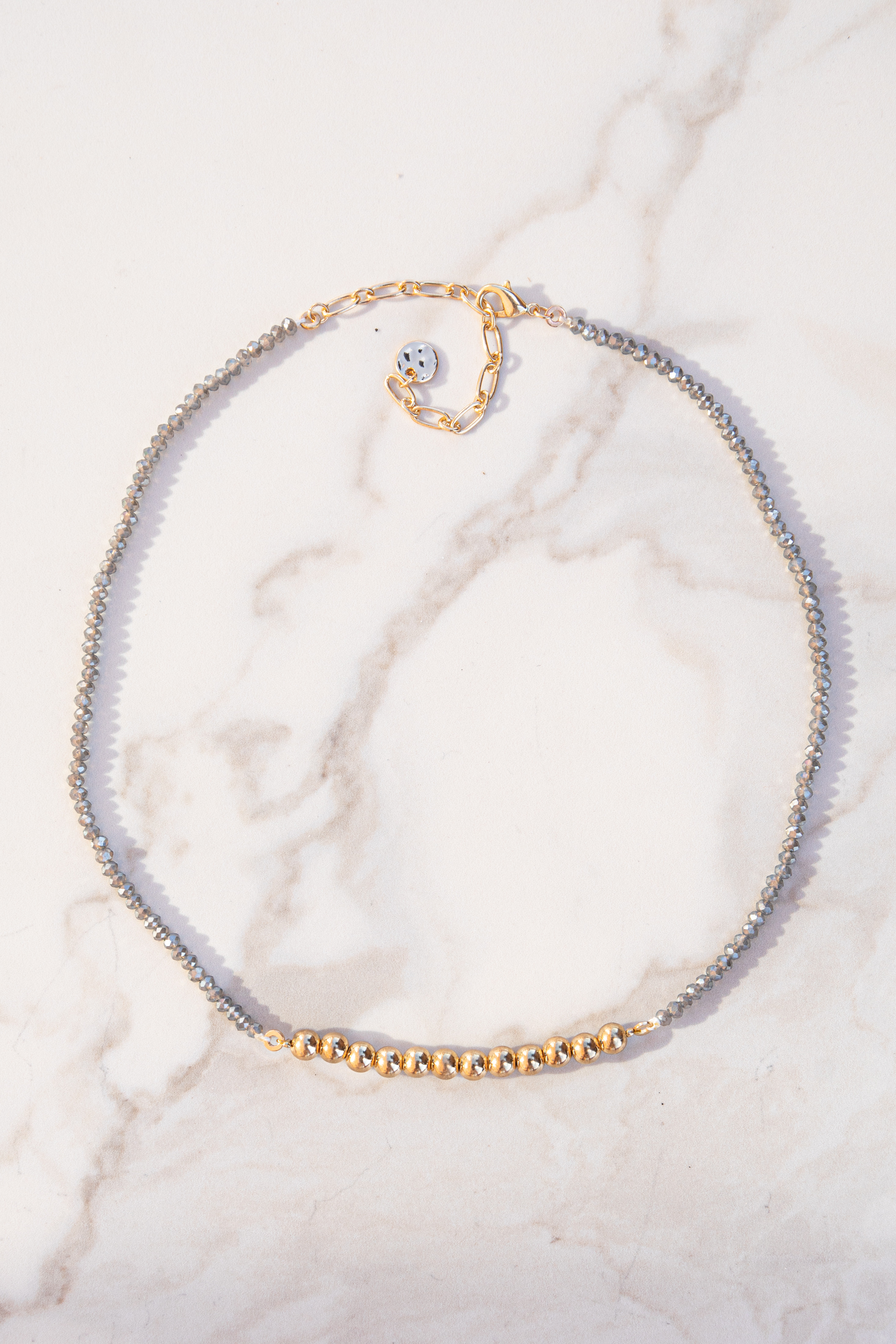 Gold Short Necklace with Grey Rhinestone Bead Details