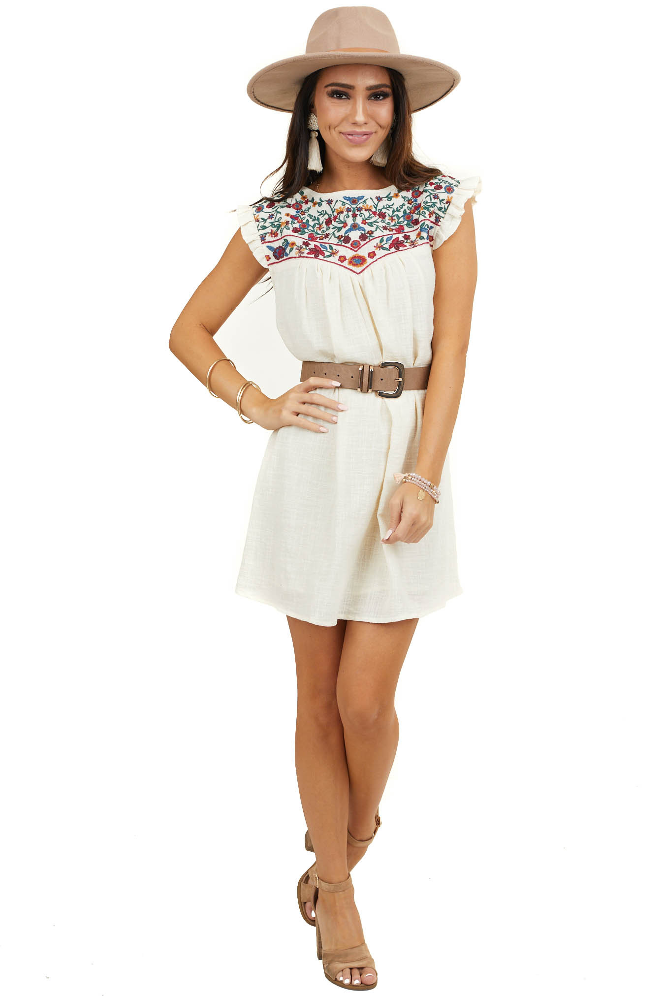 Cream Sleeveless Short Dress with Floral Embroidery Detail
