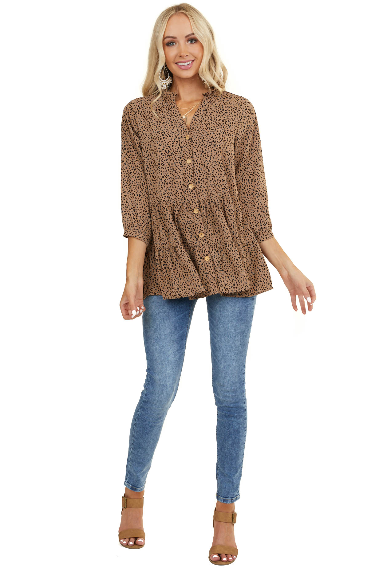 Latte Leopard Print Tiered Blouse with Front Buttons