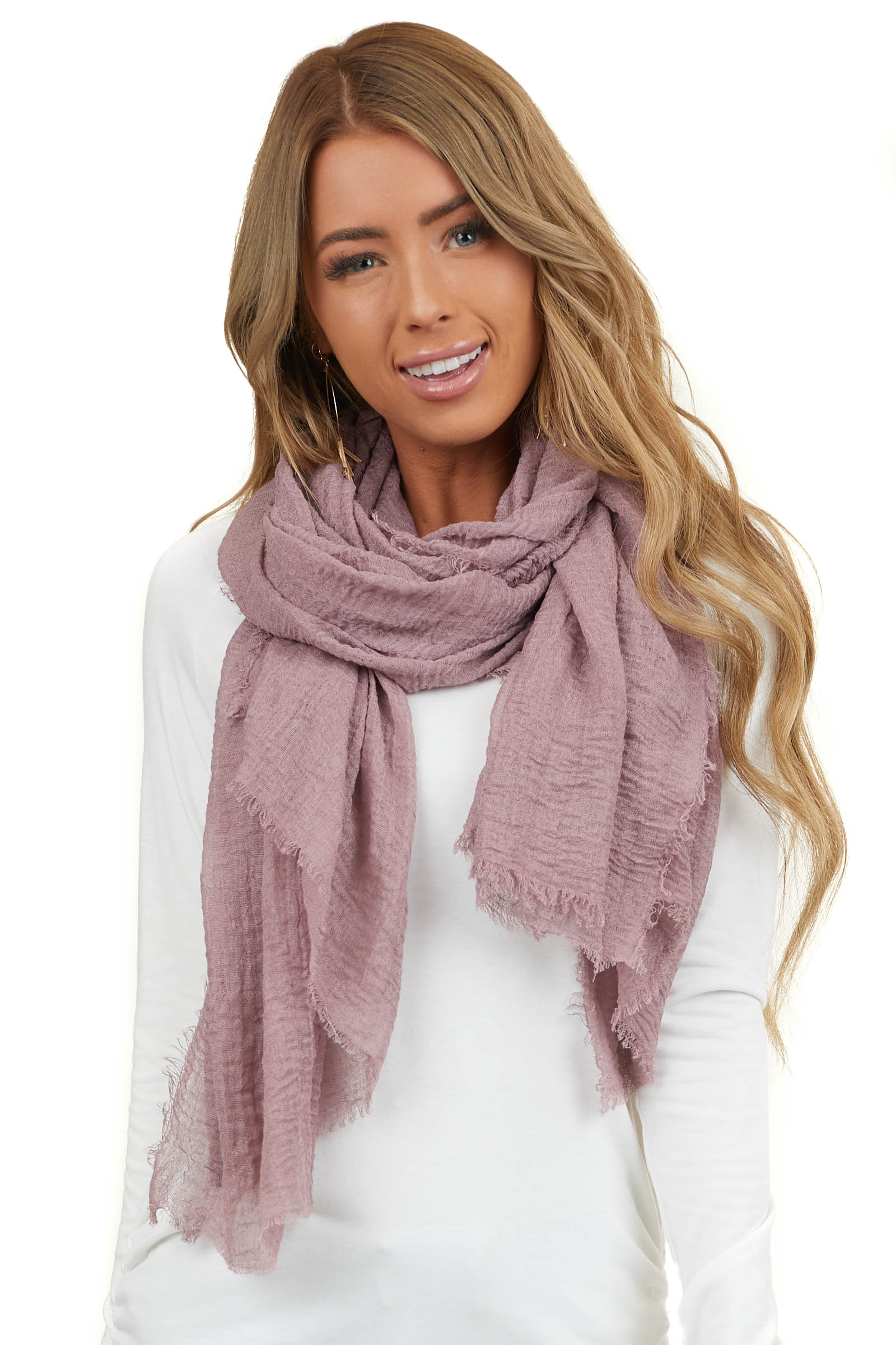 Dusty Mauve Textured Woven Scarf with Frayed Hem Detail