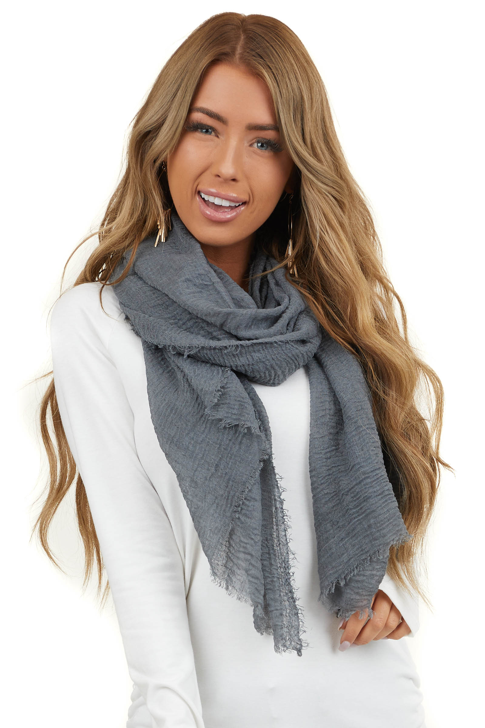 Stone Grey Textured Woven Scarf with Frayed Hem Detail