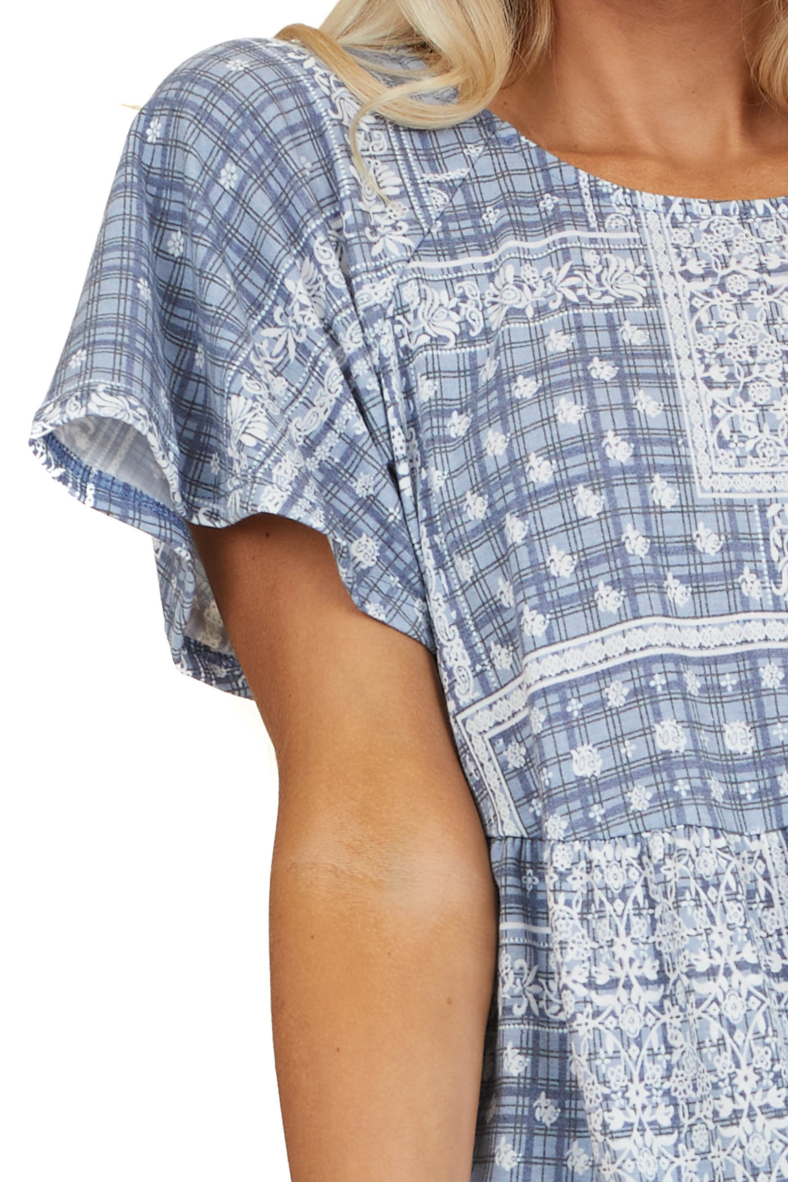 Dusty Blue Printed Drop Waist Knit Top with Short Sleeves