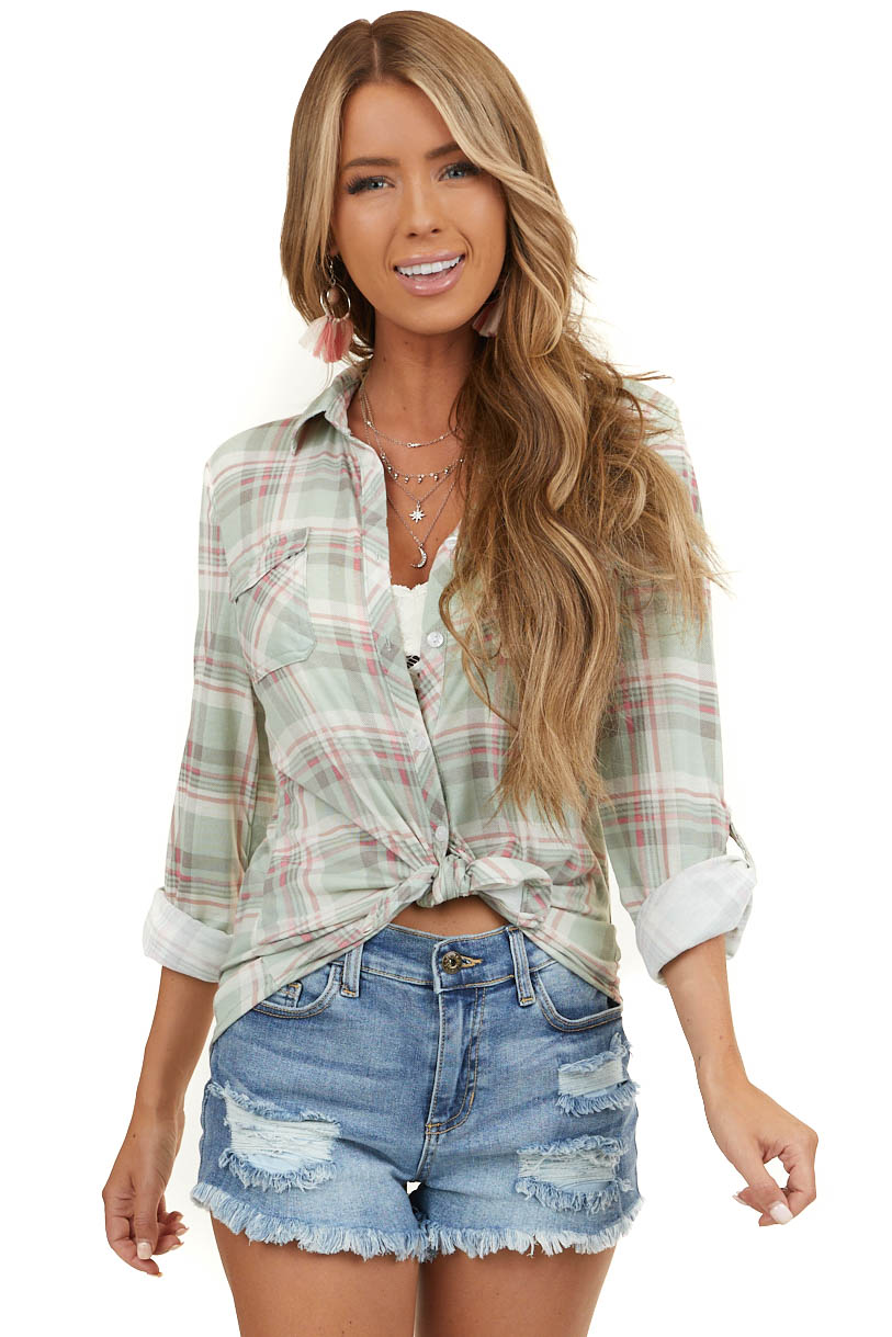 Sage and Blush Pink Plaid Button Up Top with Chest Pockets