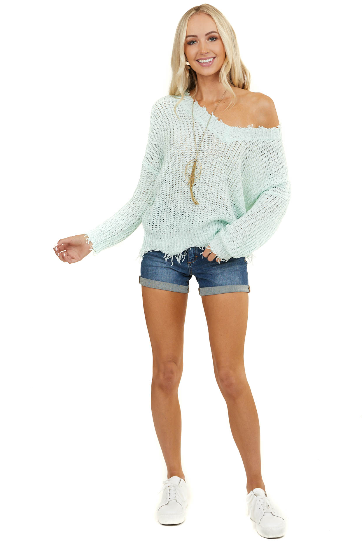 Light Mint Loose Knit V Neck Sweater with Frayed Detail