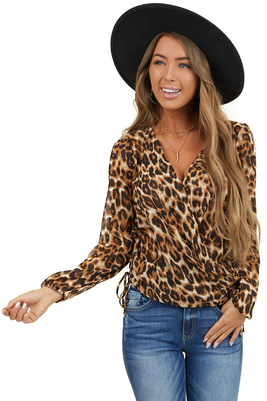 Camel Leopard Surplice Top with Long Sleeves and Tie Detail