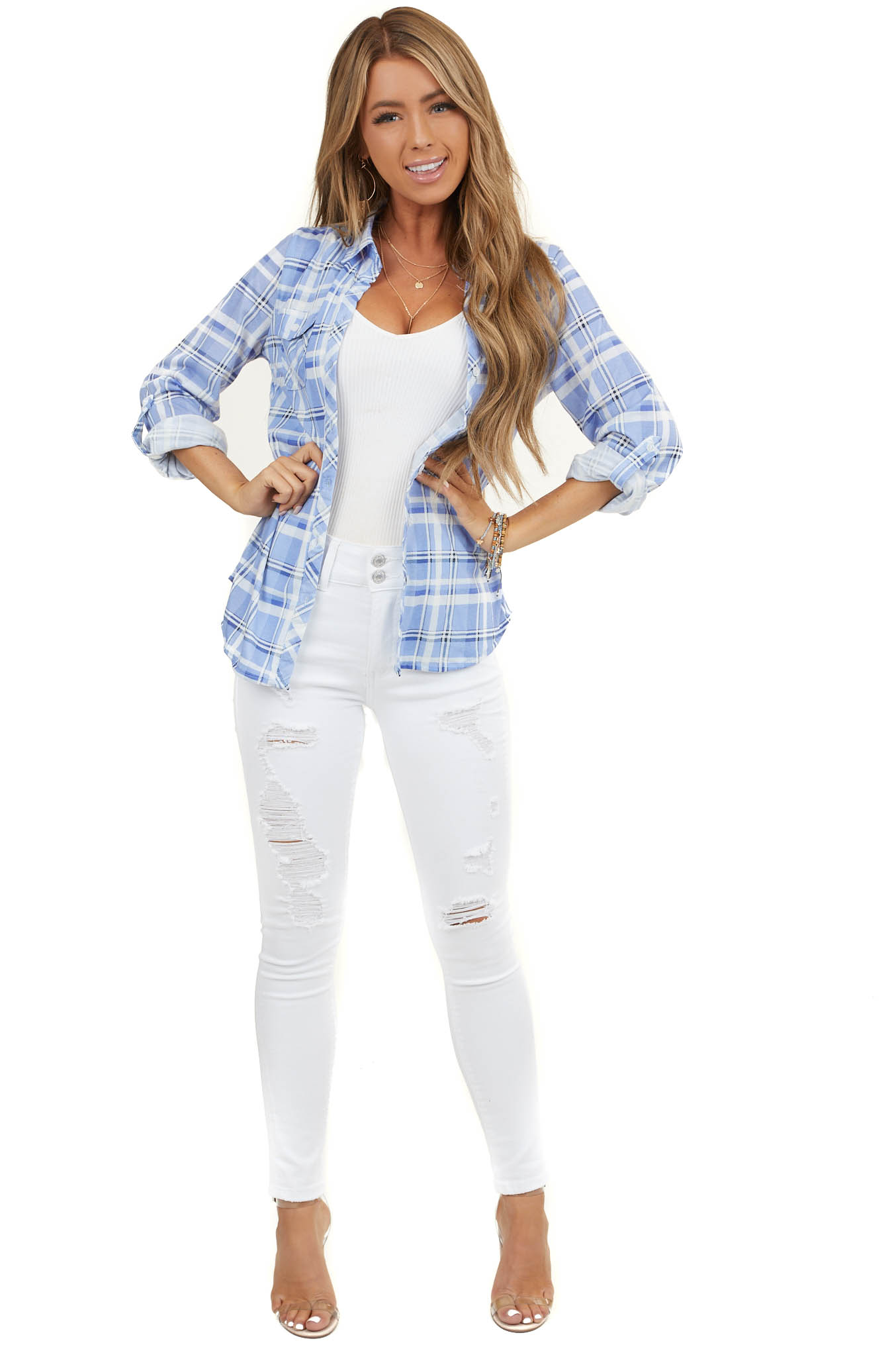 Powder Blue and White Plaid Button Up Top with Chest Pockets
