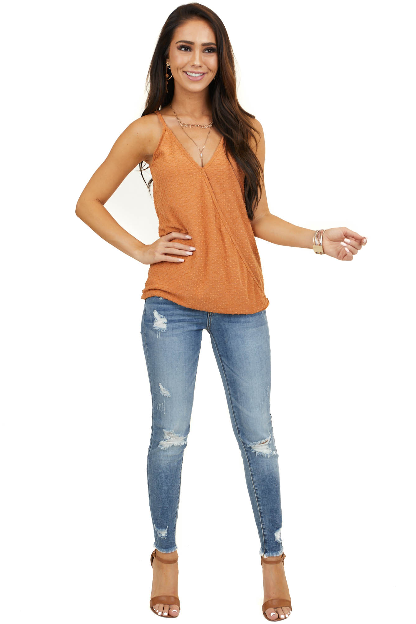 Ginger Sleeveless Surplice Knit Top with Swiss Dot Detail