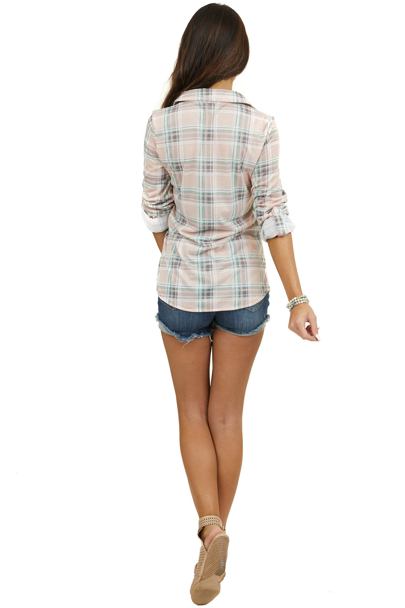 Dusty Blush and Sage Plaid Button Up Top with Chest Pockets