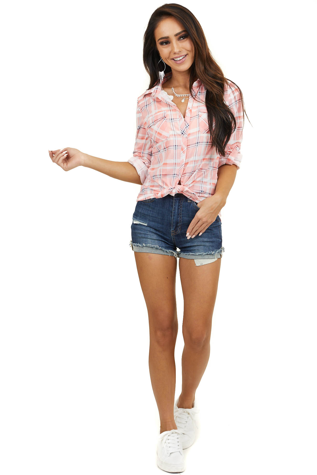 Bubblegum Pink Plaid Button Up Top with Chest Pockets