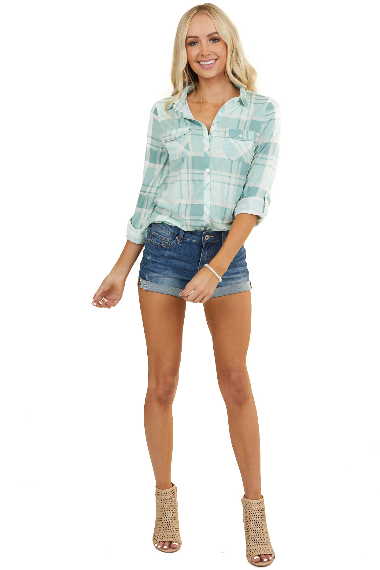 Mint and Aqua Plaid Button Up Top with Chest Pockets