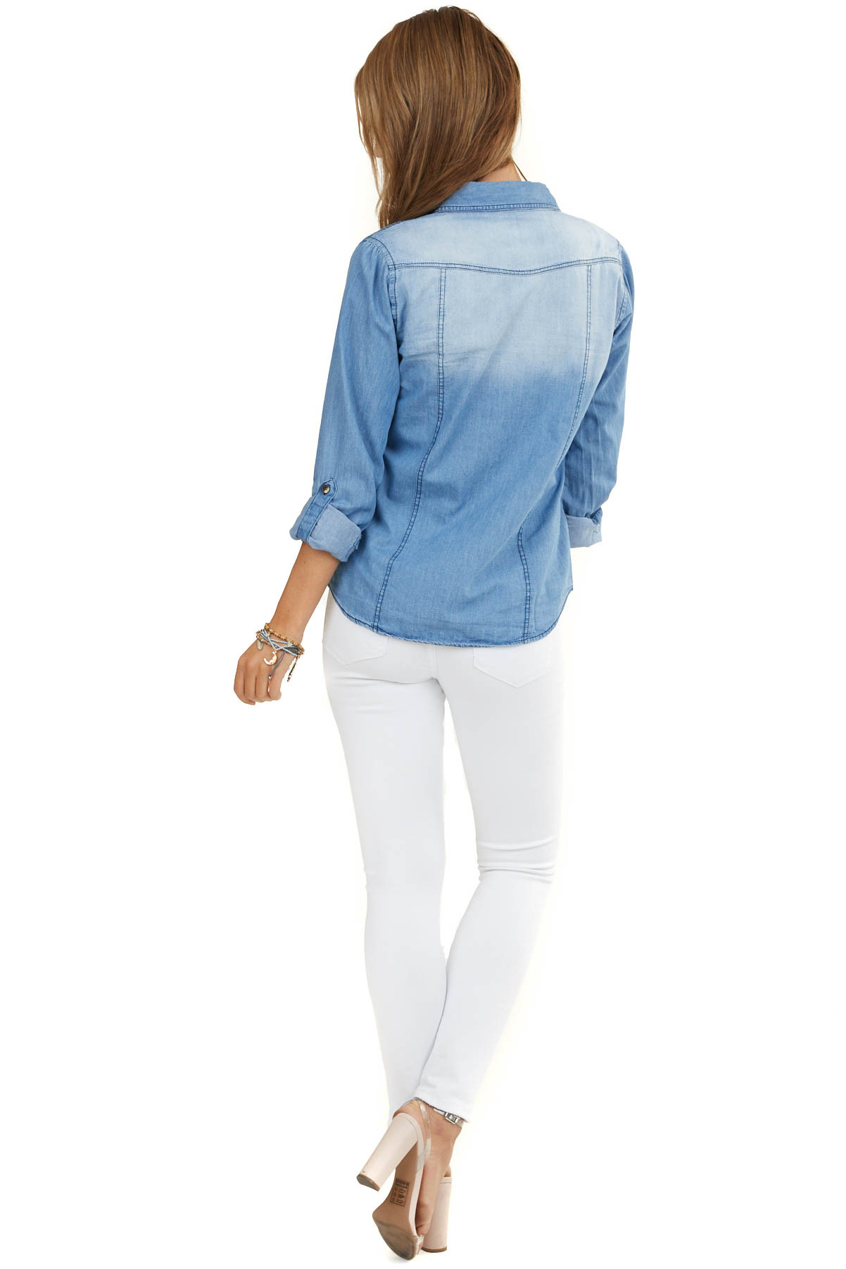 Light Wash Blue Denim Button Up Top with Chest Pockets