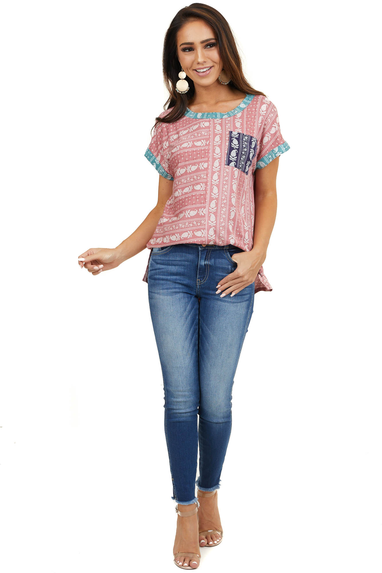 Dark Coral Paisley Print Top with Front Pocket Detail
