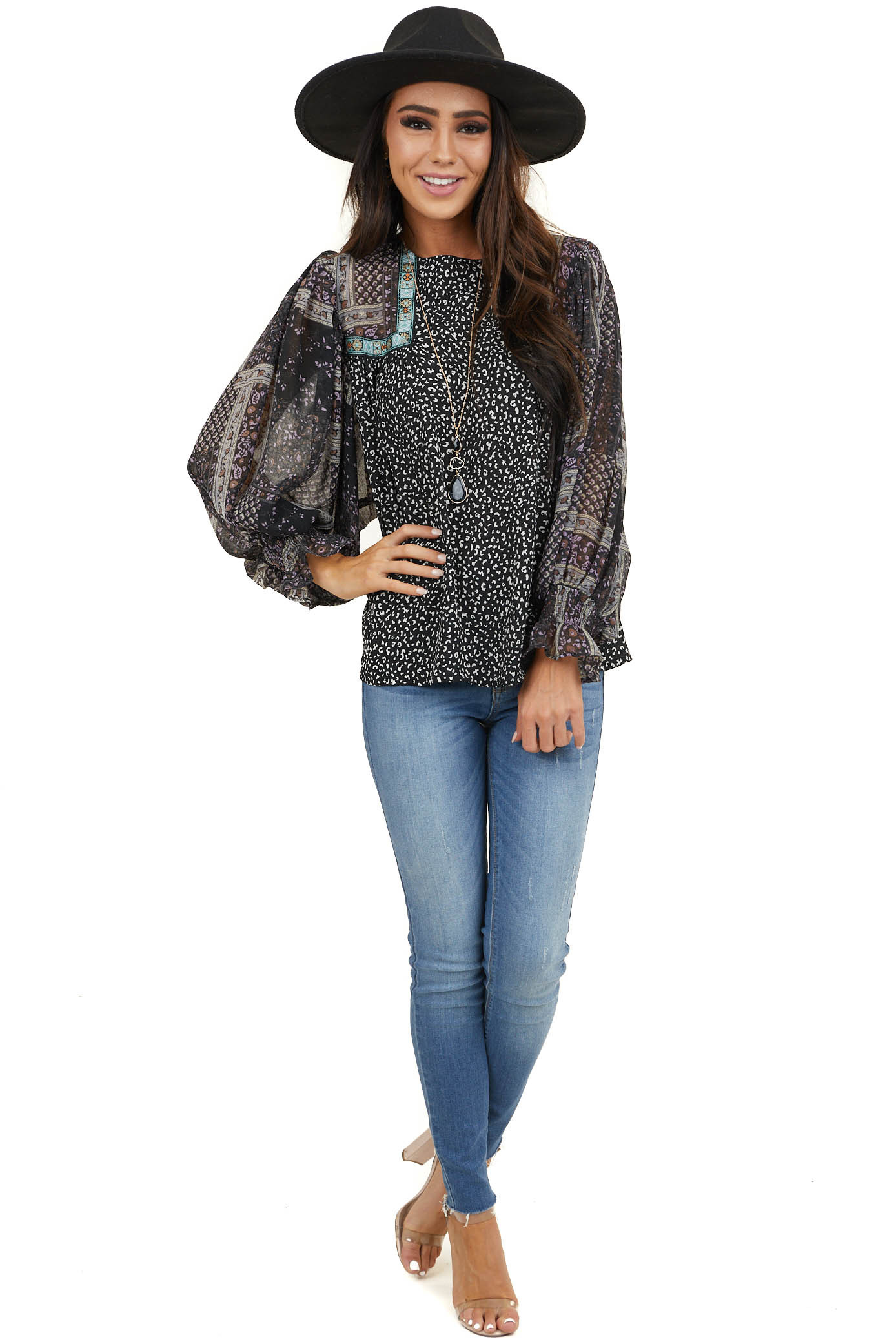 Black Leopard Print Woven Top with Patterned Dolman Sleeves