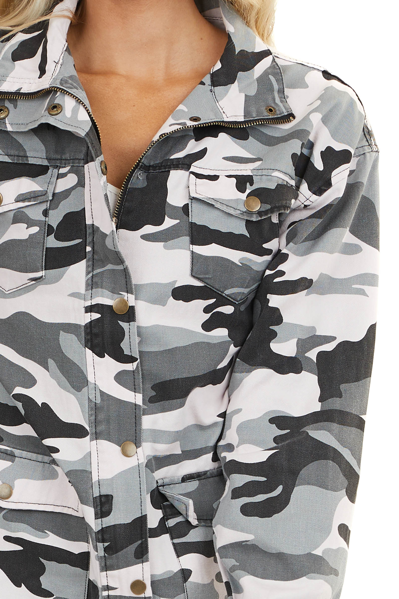 Charcoal Camo Print Long Sleeve Jacket with Button Details