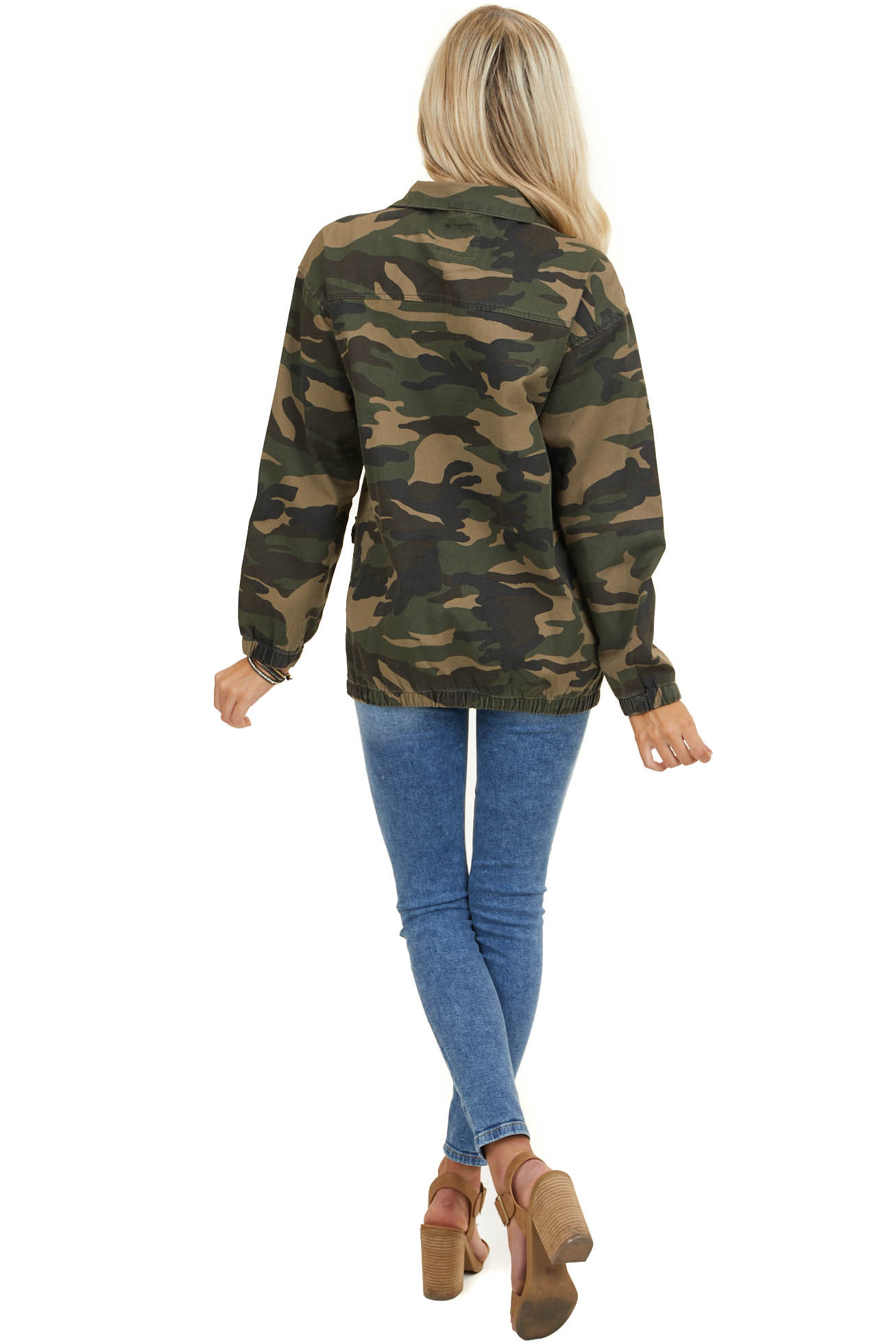 Olive Camo Print Long Sleeve Jacket with Button Details