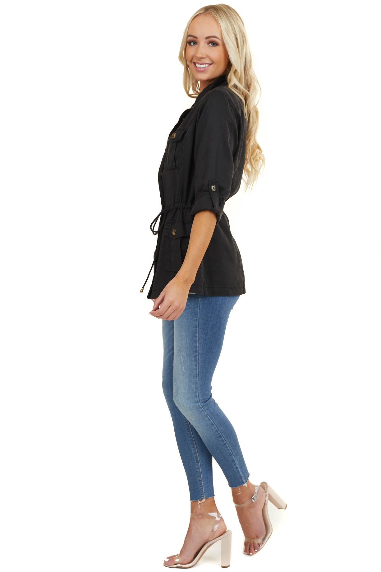 Black Long Sleeve Jacket with Front Pocket Details