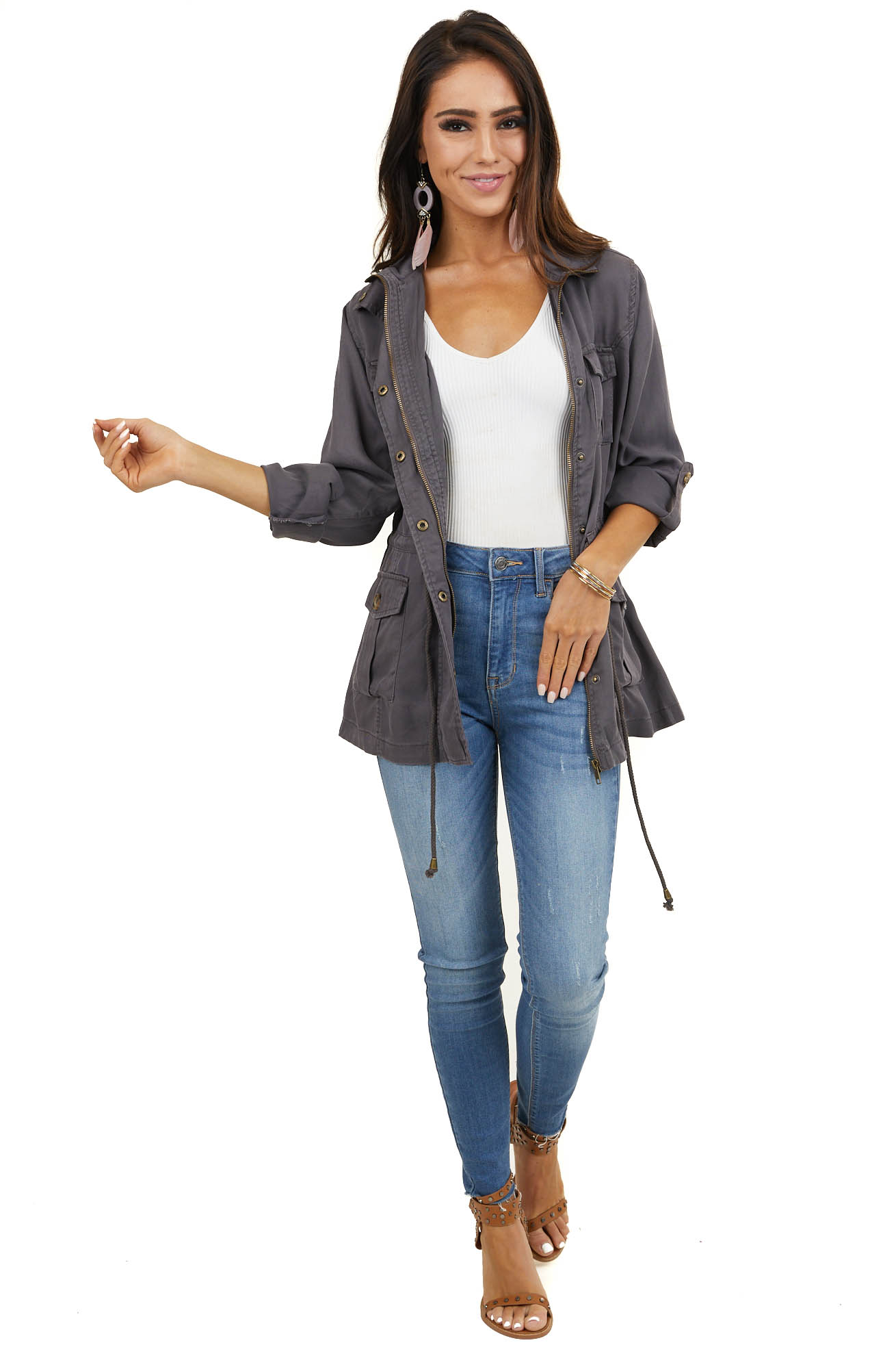 Stone Grey Long Sleeve Jacket with Front Pocket Details