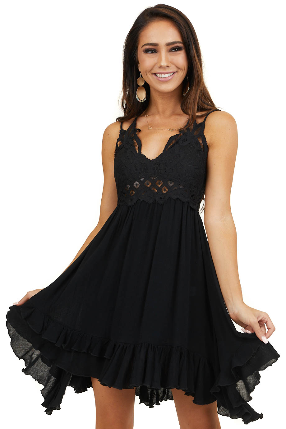 Black Double Spaghetti Strap Mini Dress with Lace Detail