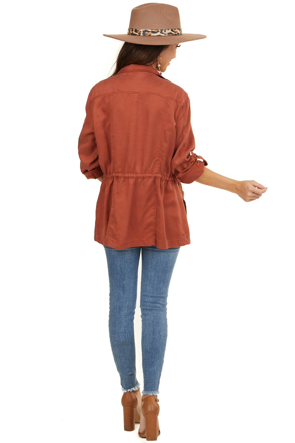 Rust Long Sleeve Jacket with Front Pocket Details