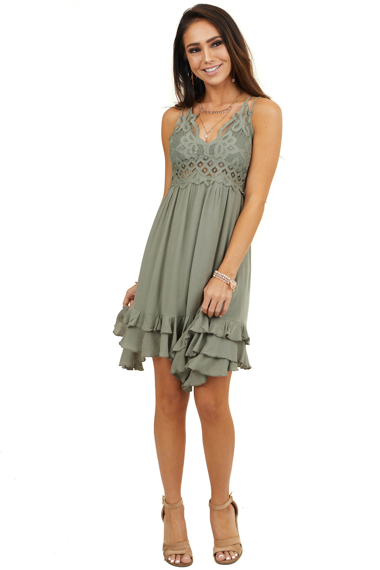 Olive Double Spaghetti Strap Mini Dress with Lace Detail