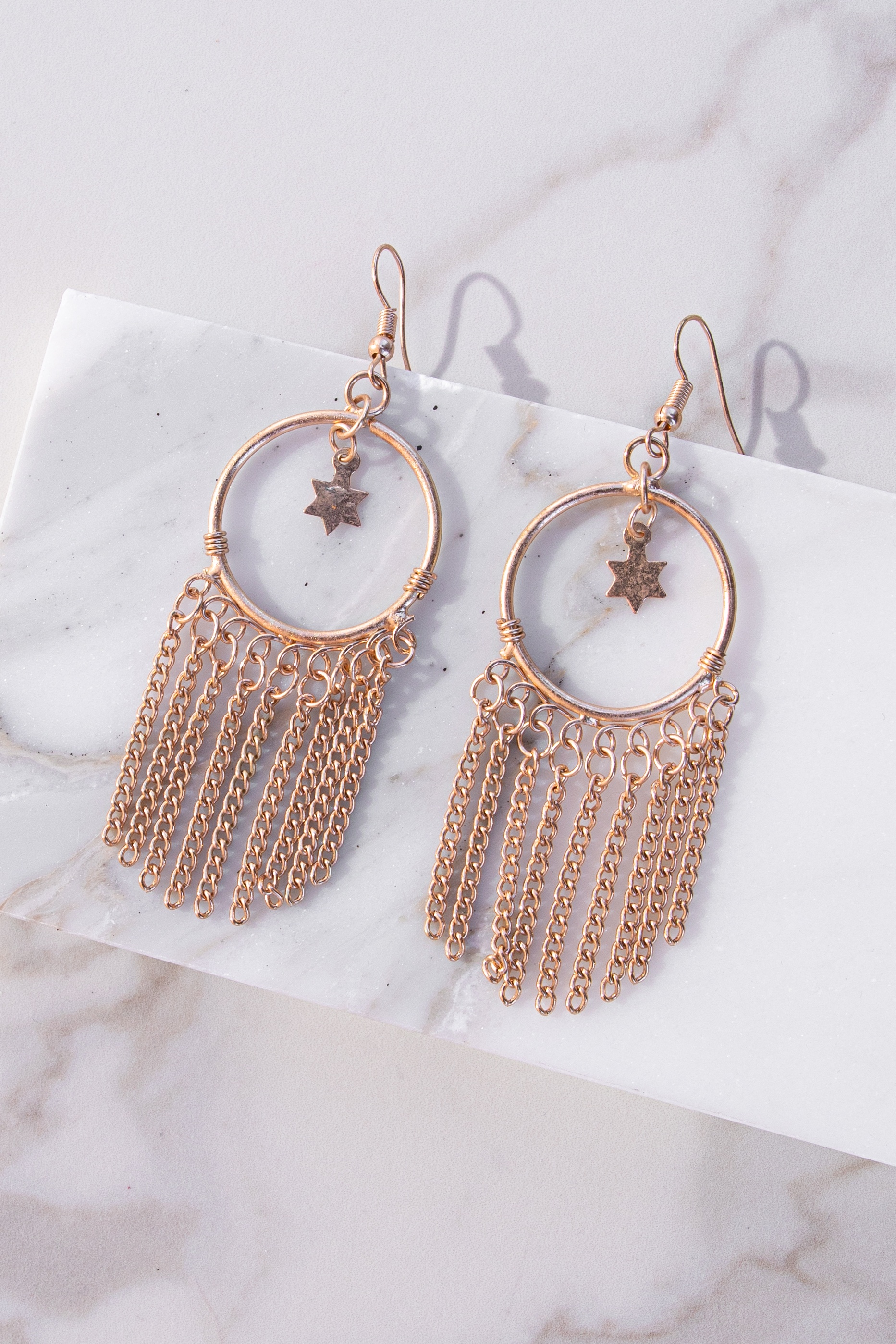 Gold Hoop Dangle Earrings with Star and Chain Details