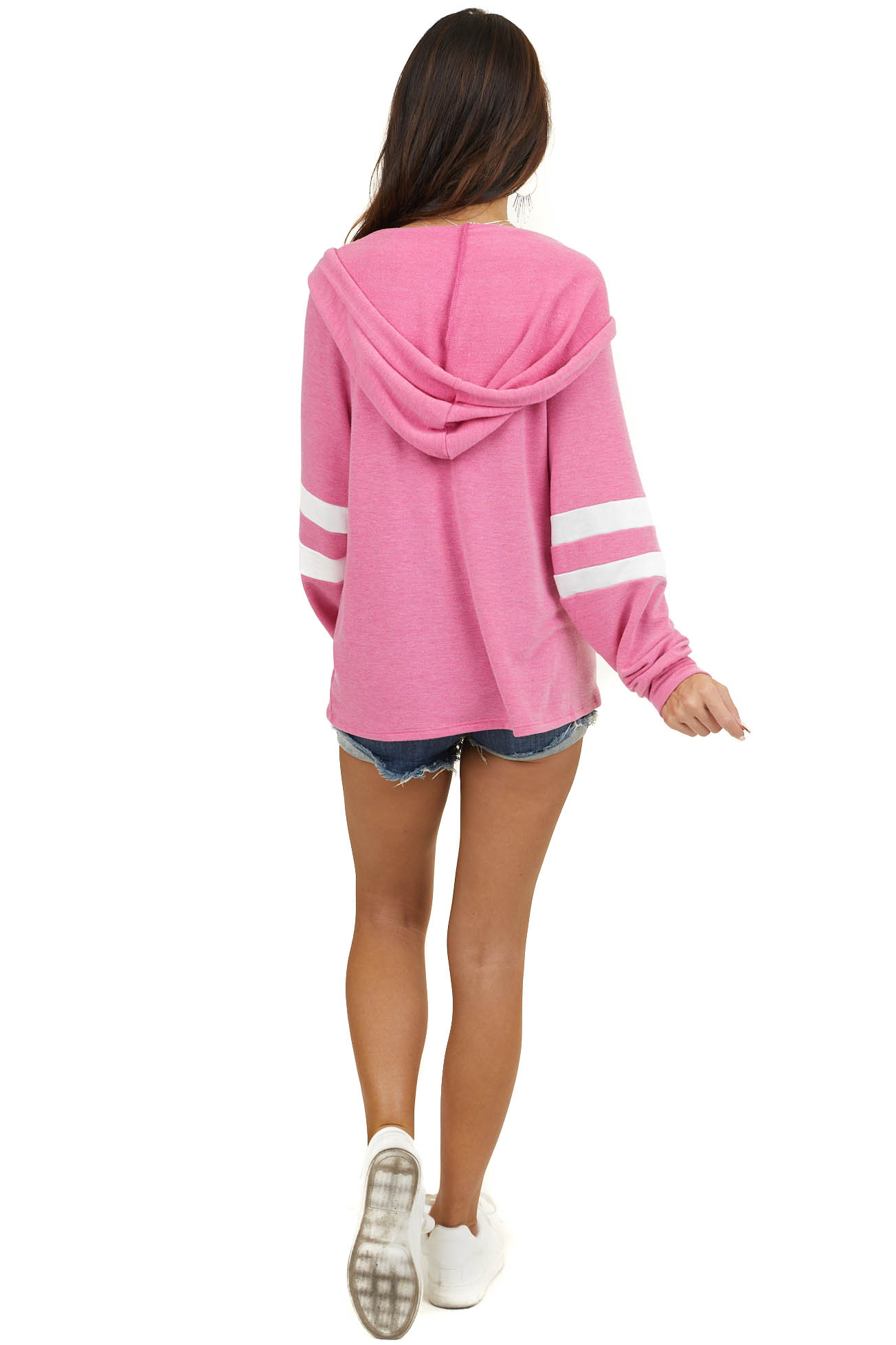 Heathered Hot Pink Knit Hoodie with Striped Sleeves
