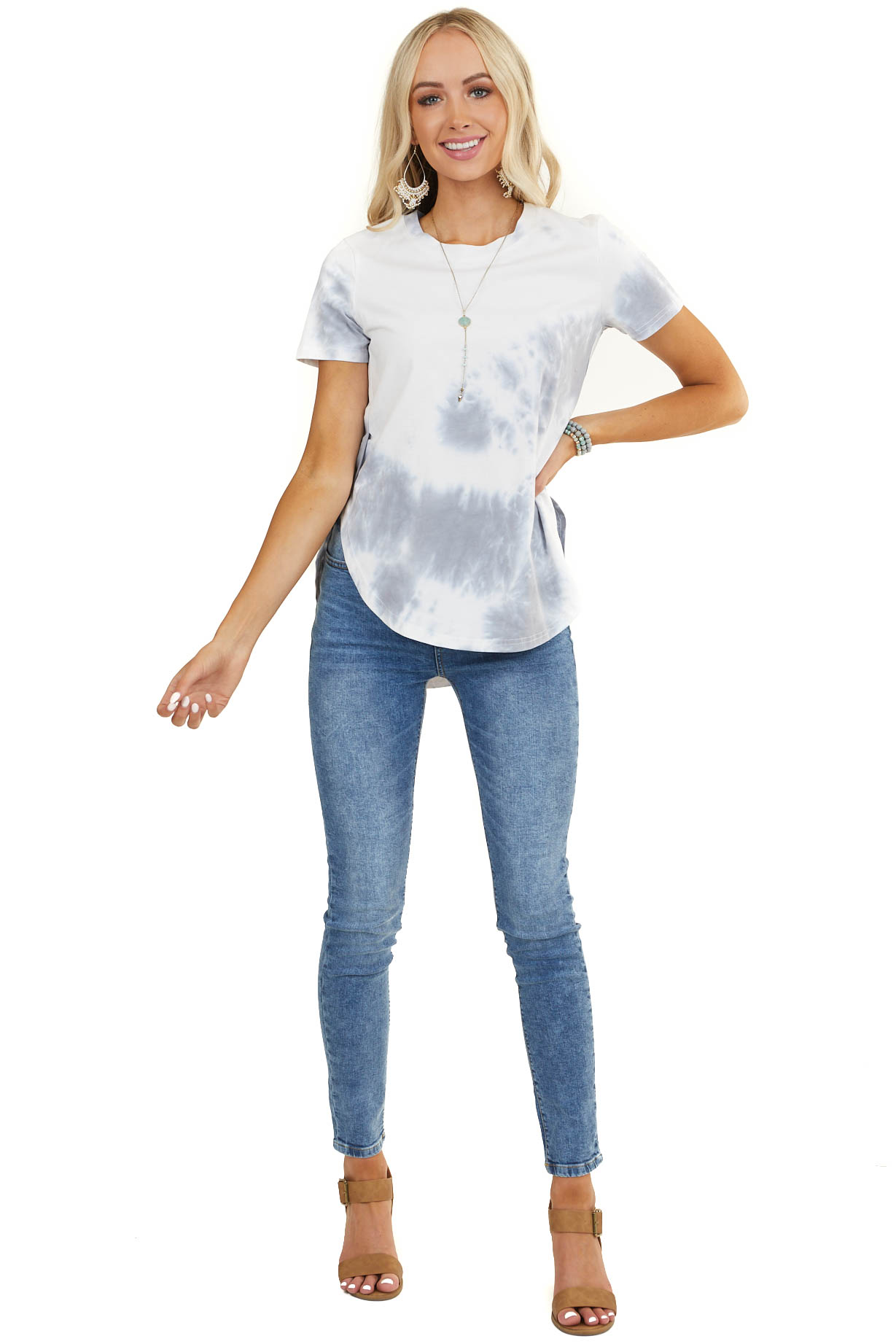 Eggshell White and Dove Grey Tie Dye Short Sleeve Knit Top