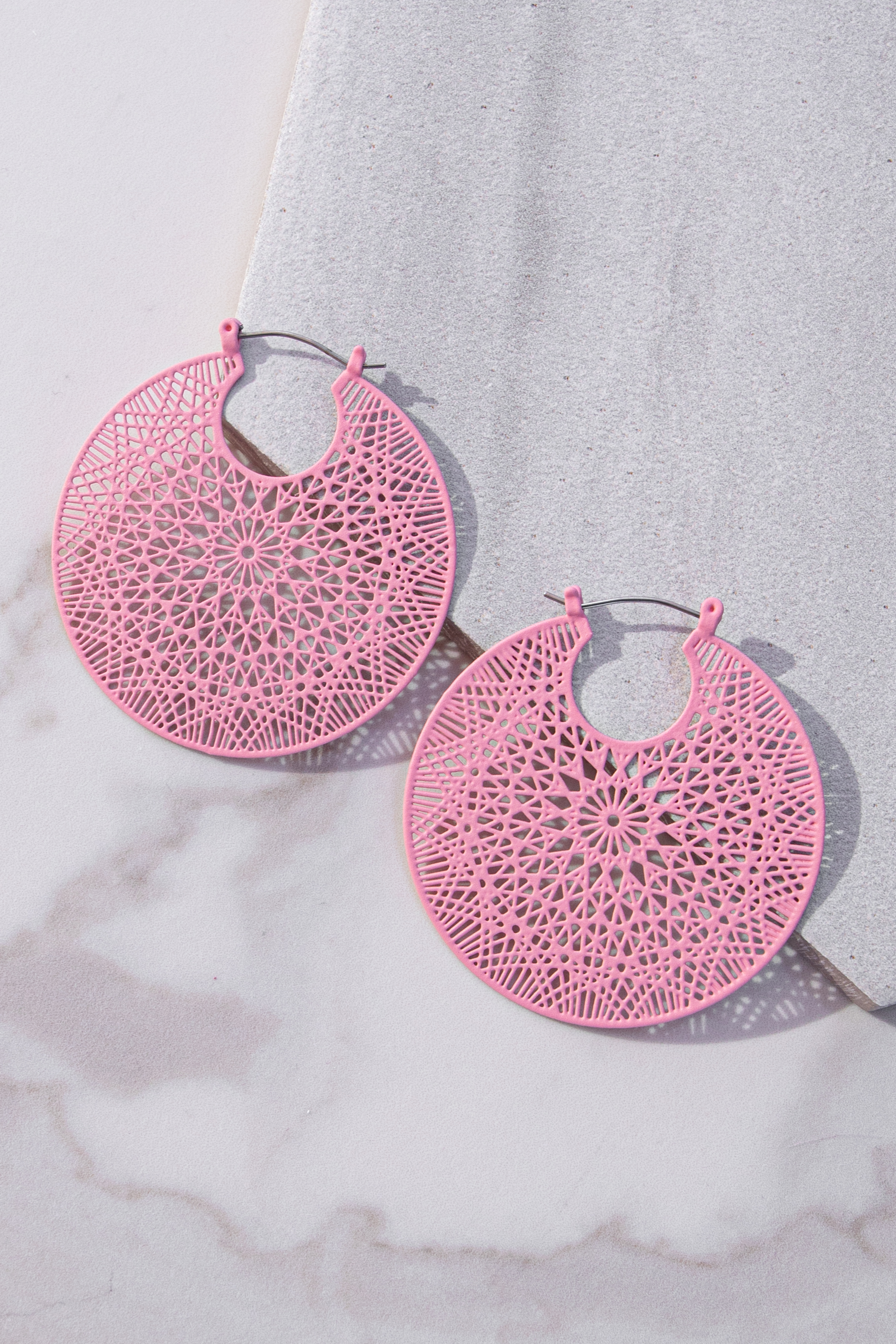 Dusty Blush Filigree Circle Earrings with Bar Clasp Closure