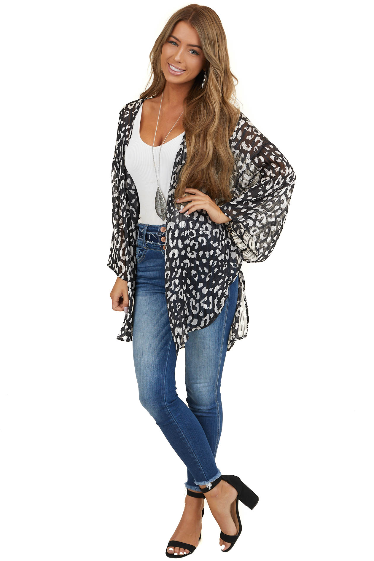 Black and White Leopard Print Kimono with Silver Threading