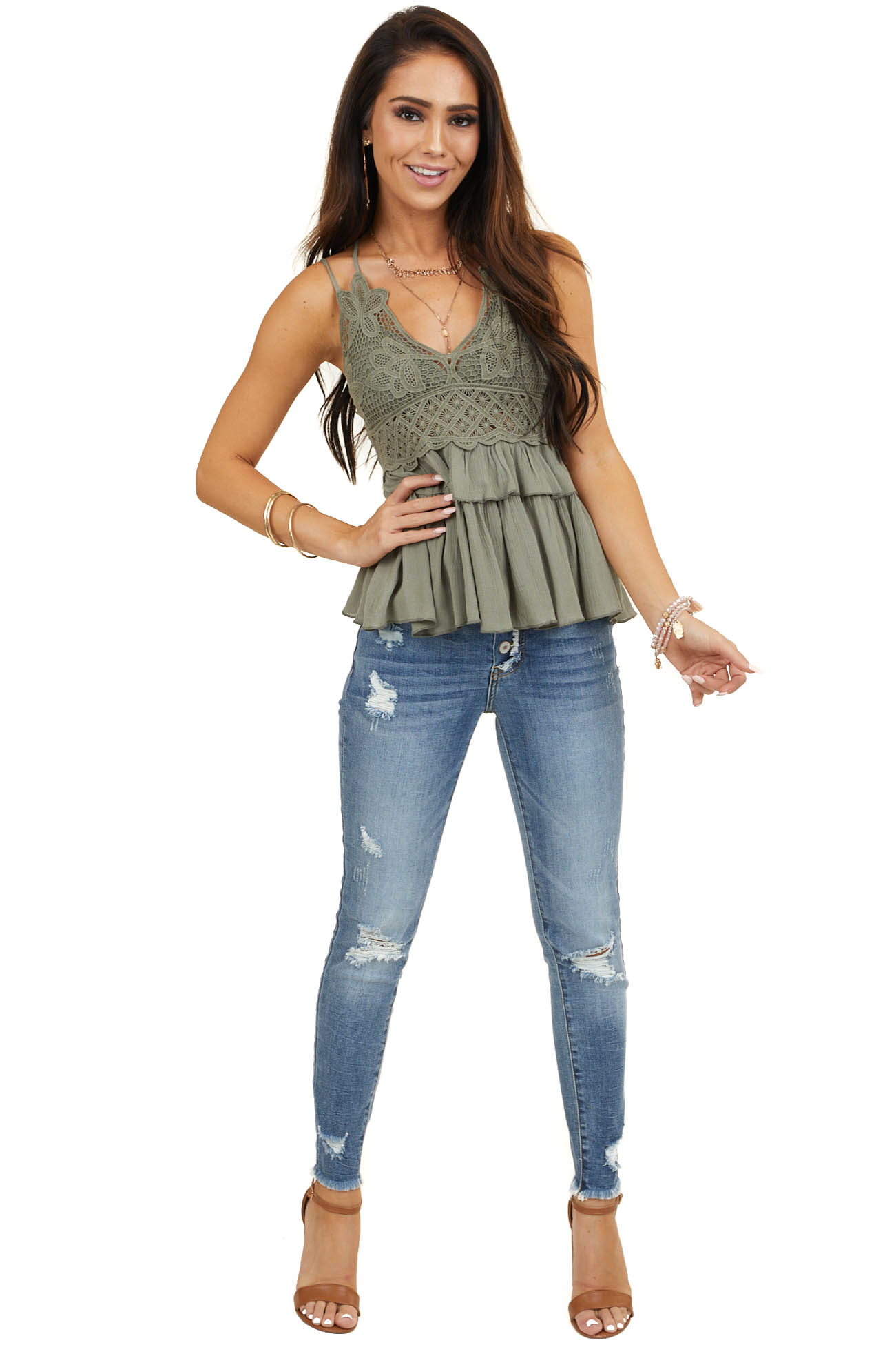 Olive Crochet Lace Spaghetti Strap Top with Ruffle Detail