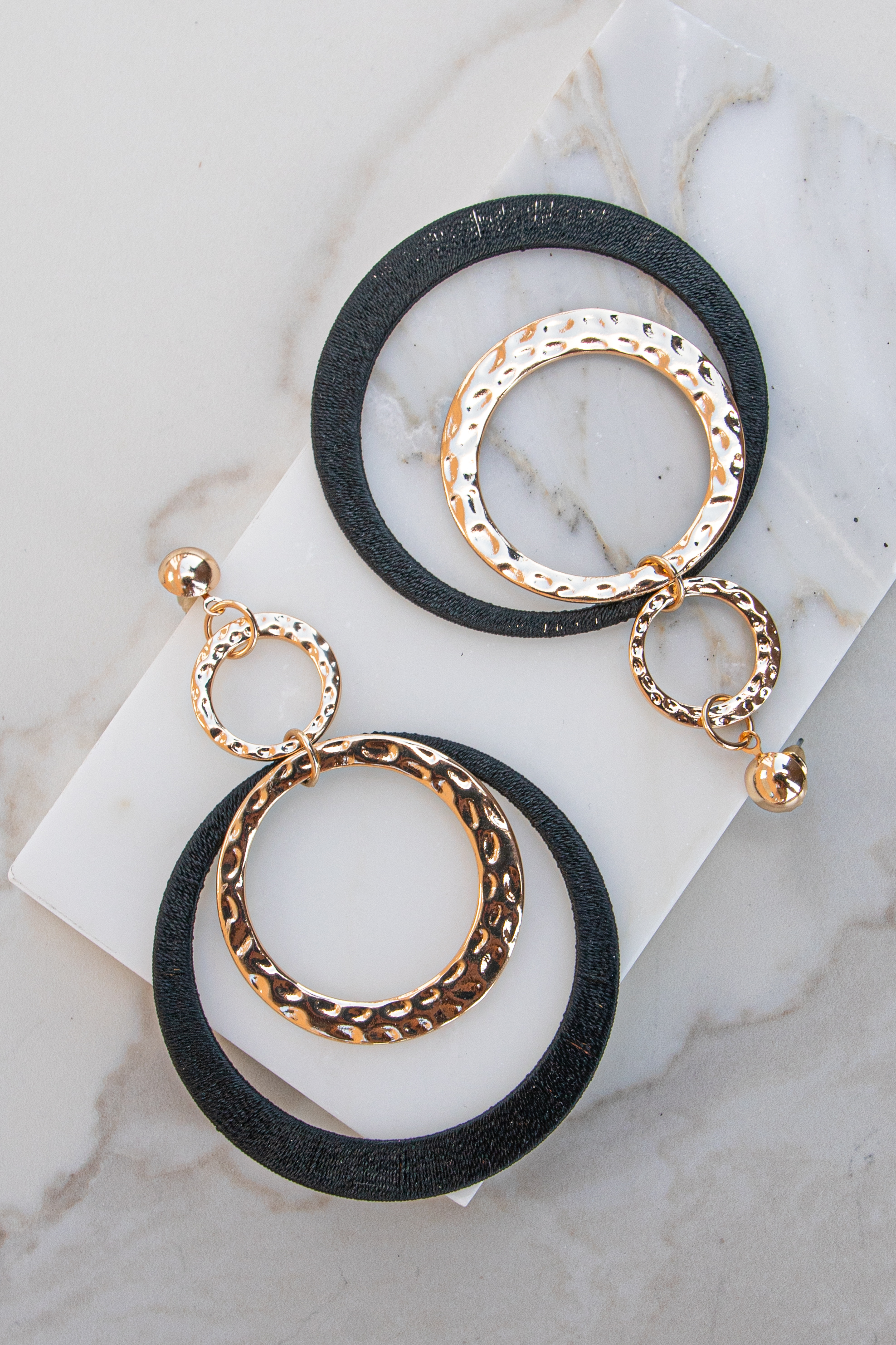 Black Thread and Gold Hammered Circle Dangle Earrings