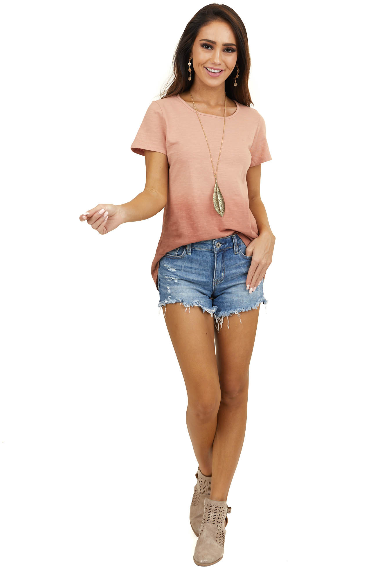 Heathered Peach Ombre Short Sleeve Top with High Low Hemline