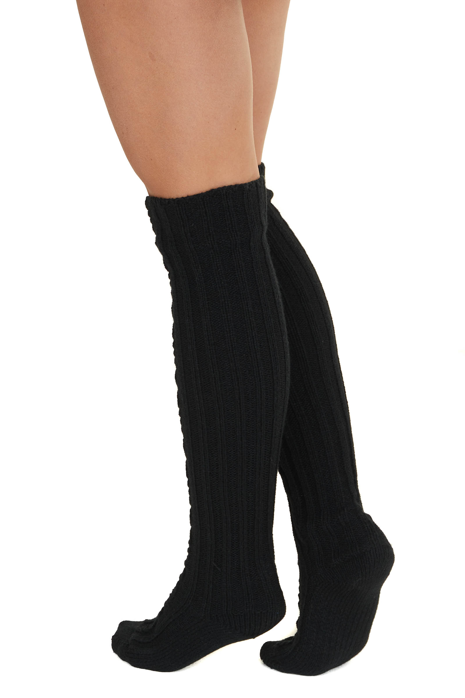 Black Cable Knit Textured Knee High Cozy Socks
