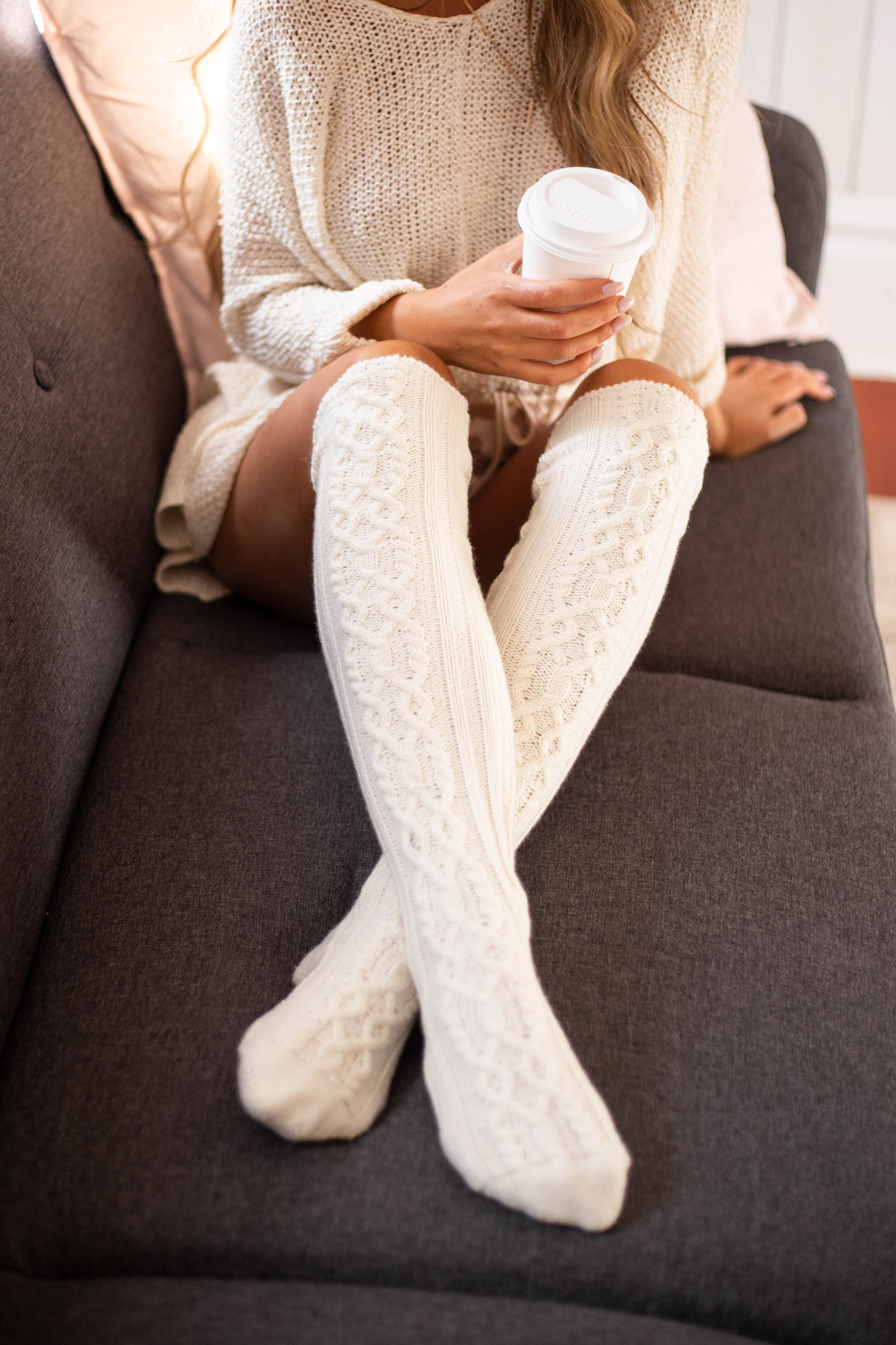 Cream Cable Knit Textured Knee High Cozy Socks