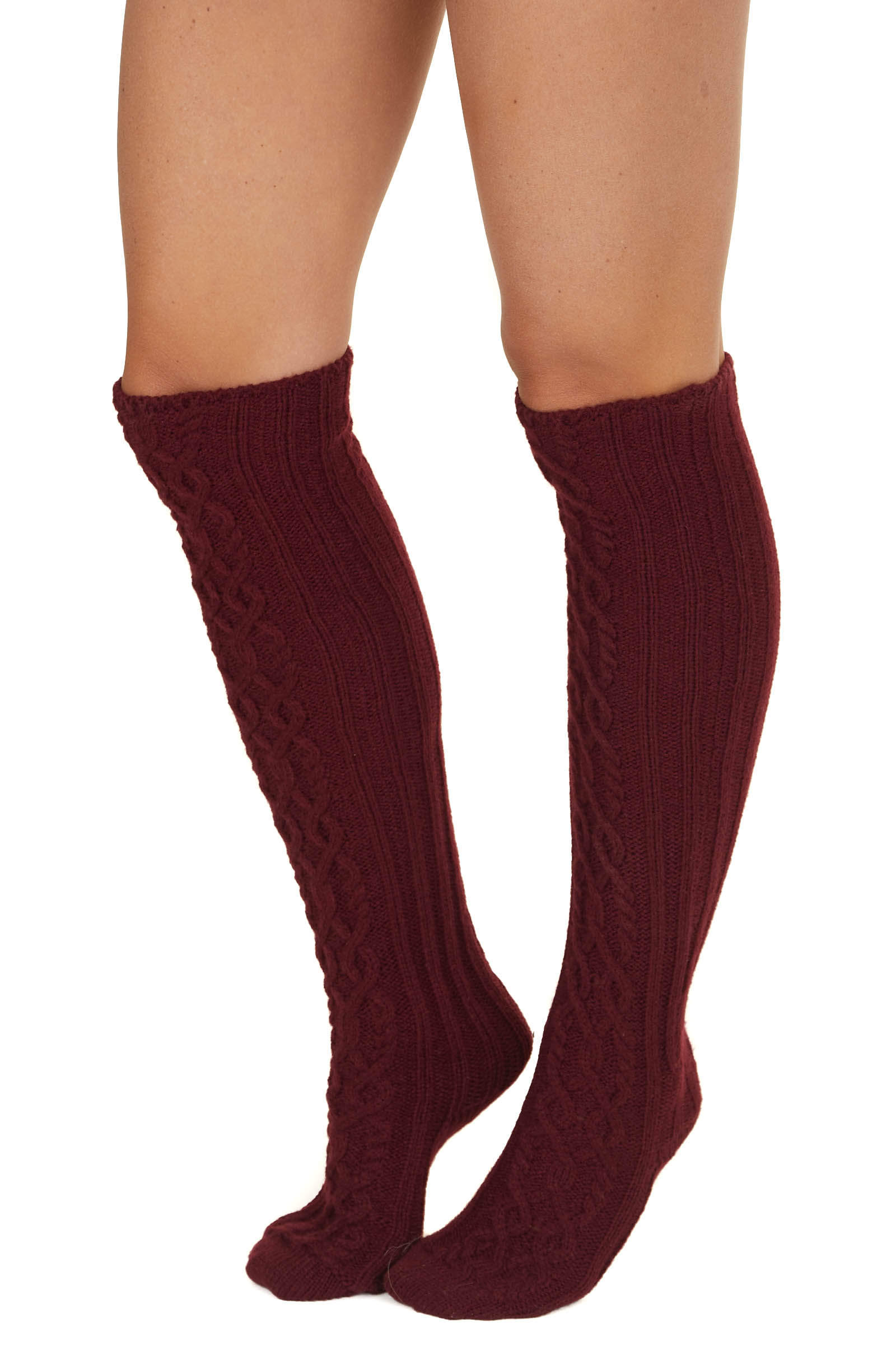 Burgundy Cable Knit Textured Knee High Cozy Socks