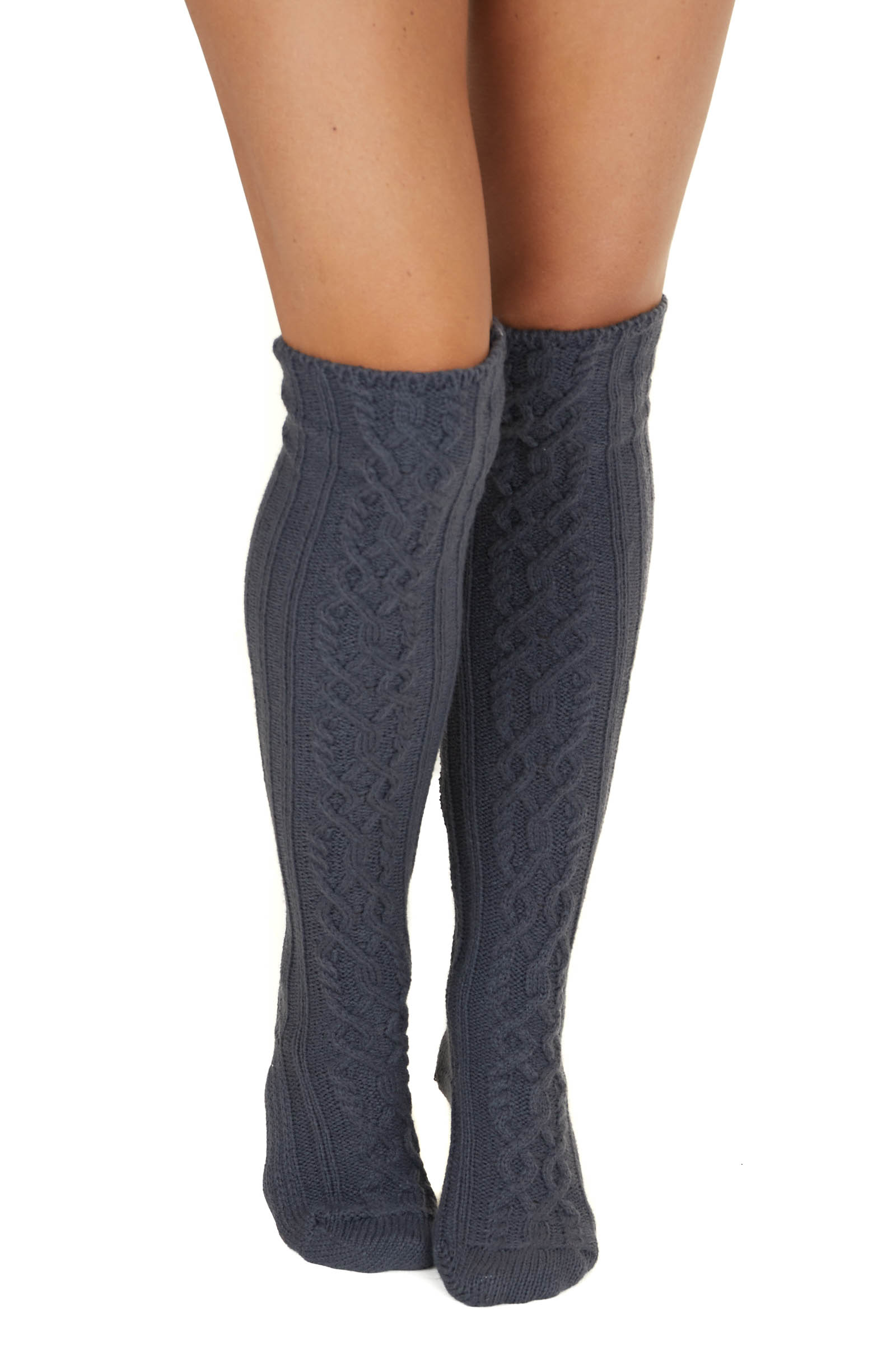 Charcoal Grey Cable Knit Textured Knee High Cozy Socks