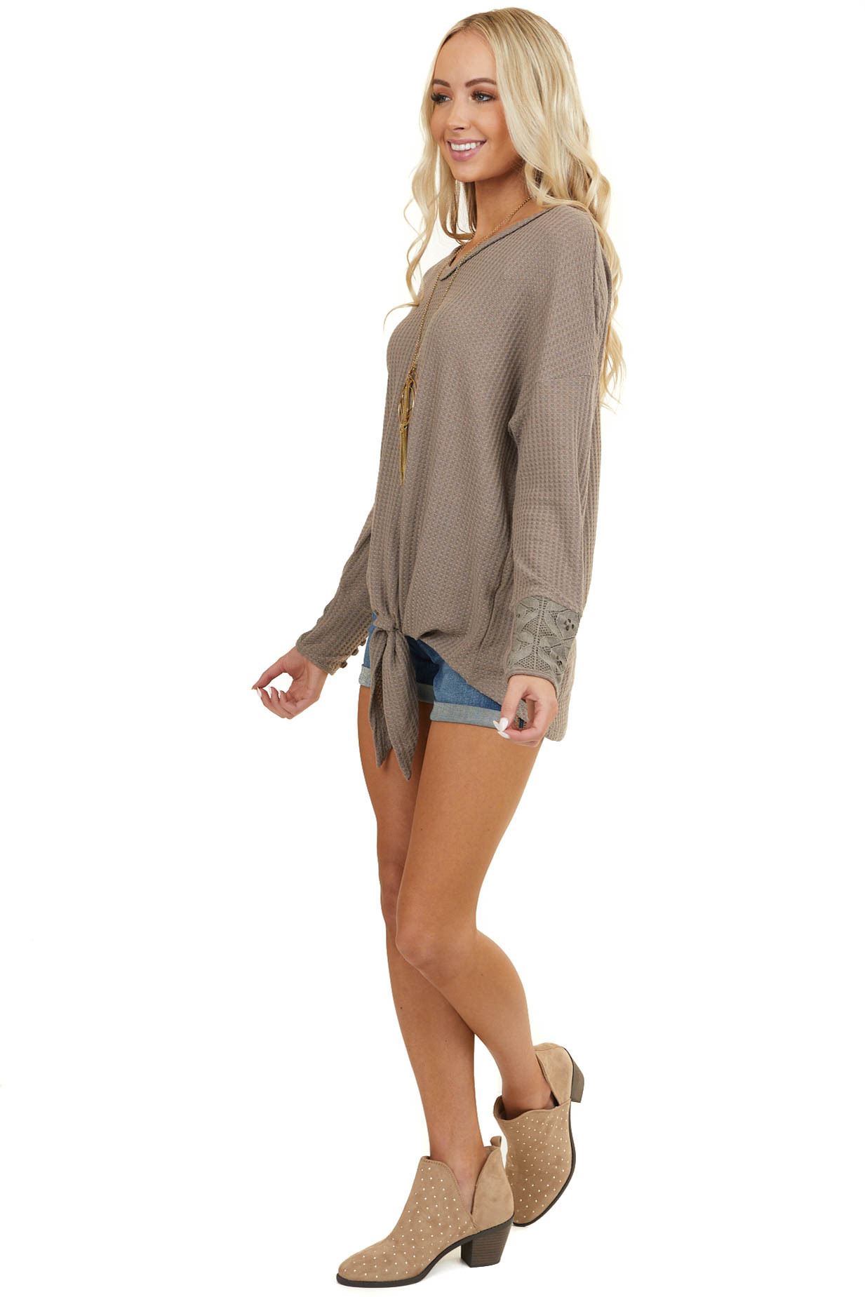 Taupe Long Sleeve Waffle Knit Top with Front Tie Detail
