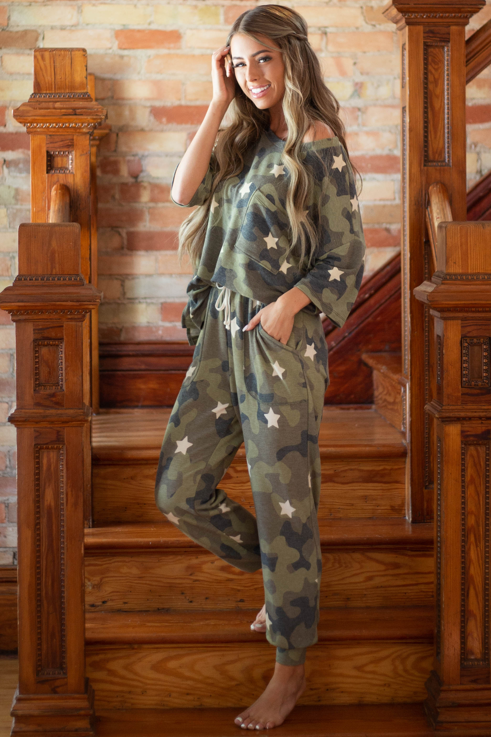 Olive Camo and Star Print Short Sleeve Top with Front Pocket