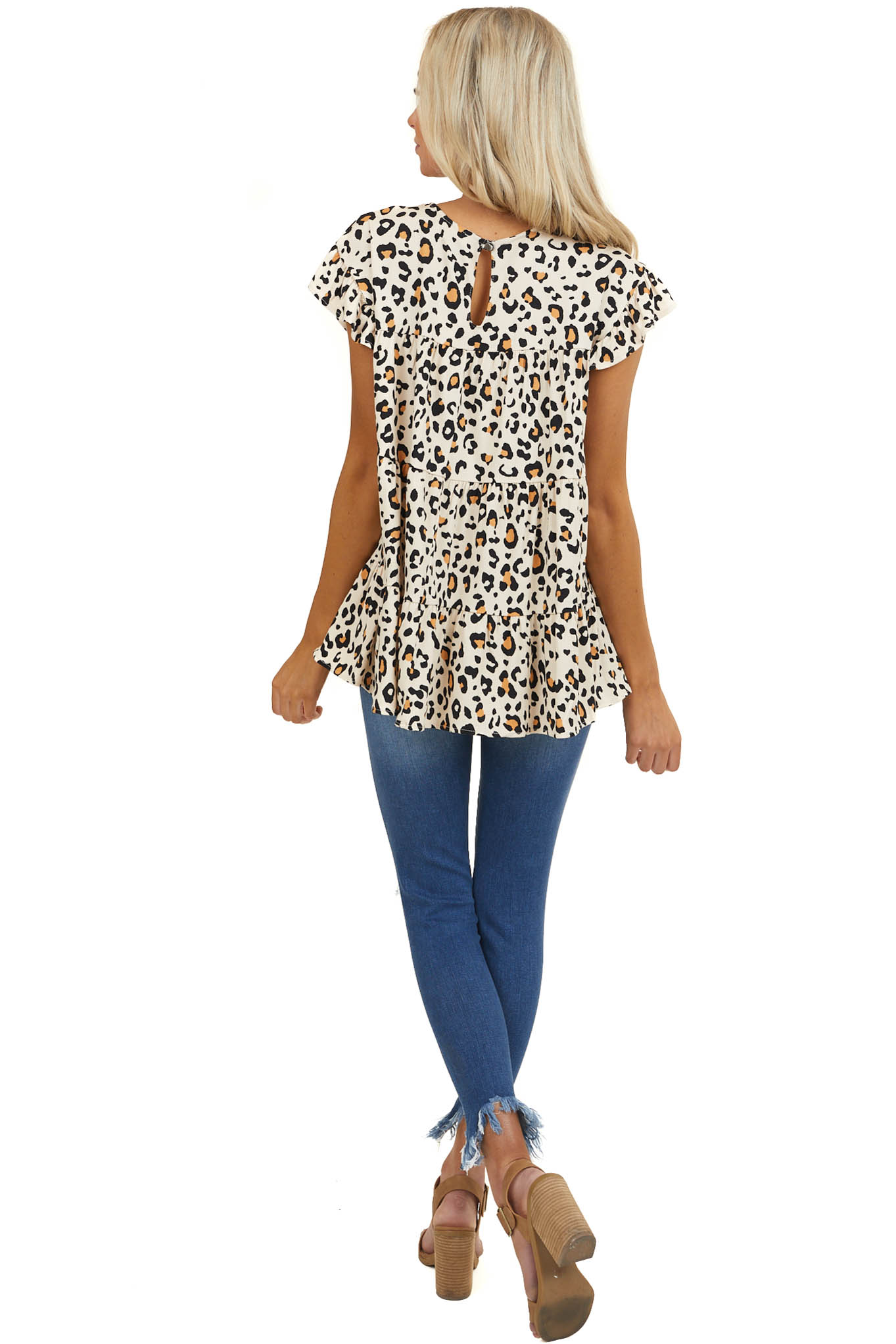 Cream Leopard Print Woven Top with Tiers and Ruffle Sleeves