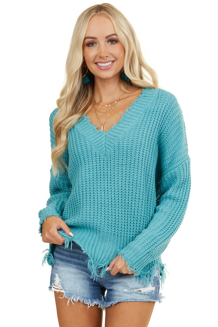 Teal V Neck Sweater with Distressed Detail
