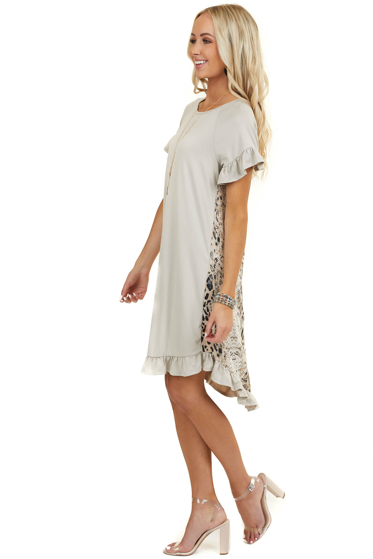 Oatmeal High Low Short Dress with Multiprint Back Detail