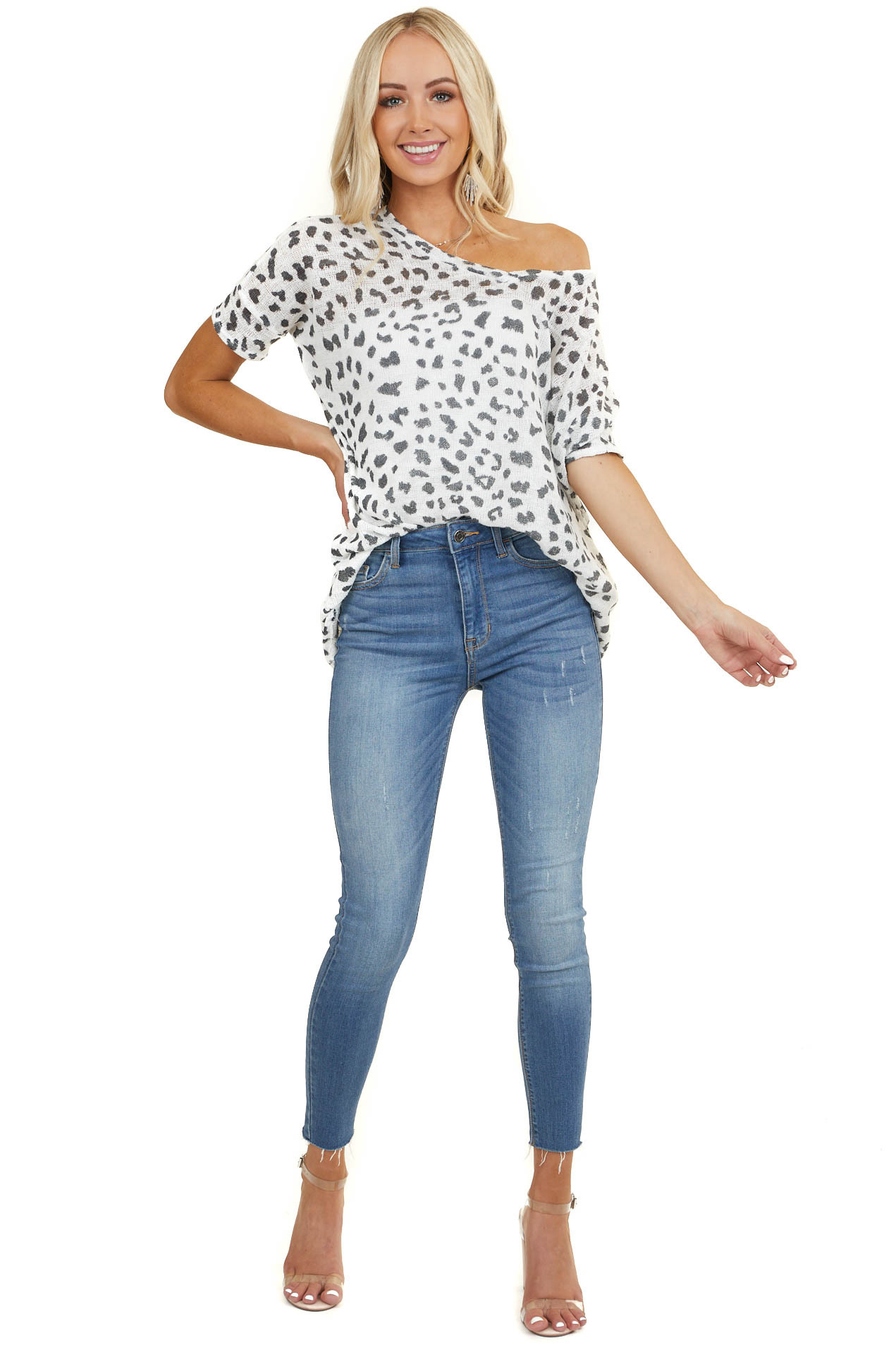 Off White Loose Knit Animal Print Top with Batwing Sleeves