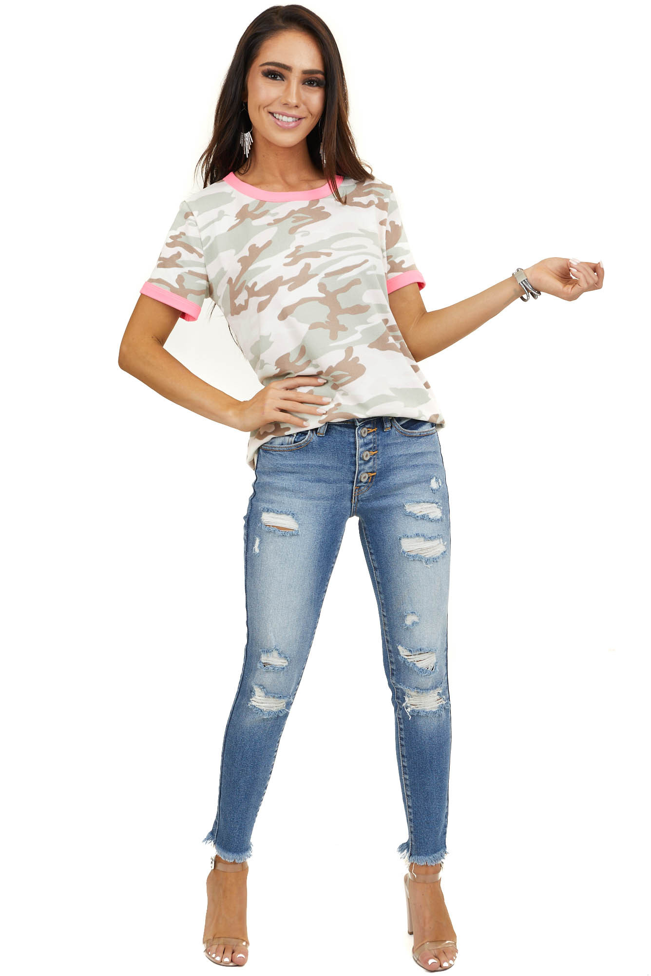 Pink Camo Short Sleeve Knit Top with Contrasting Trim