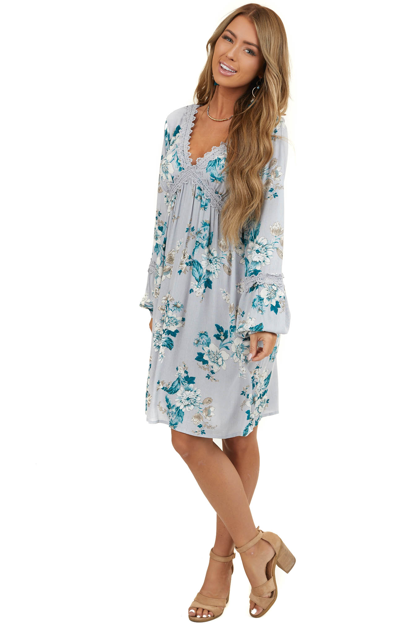 Pale Blue Floral Long Sleeve Dress with Crochet Lace Detail
