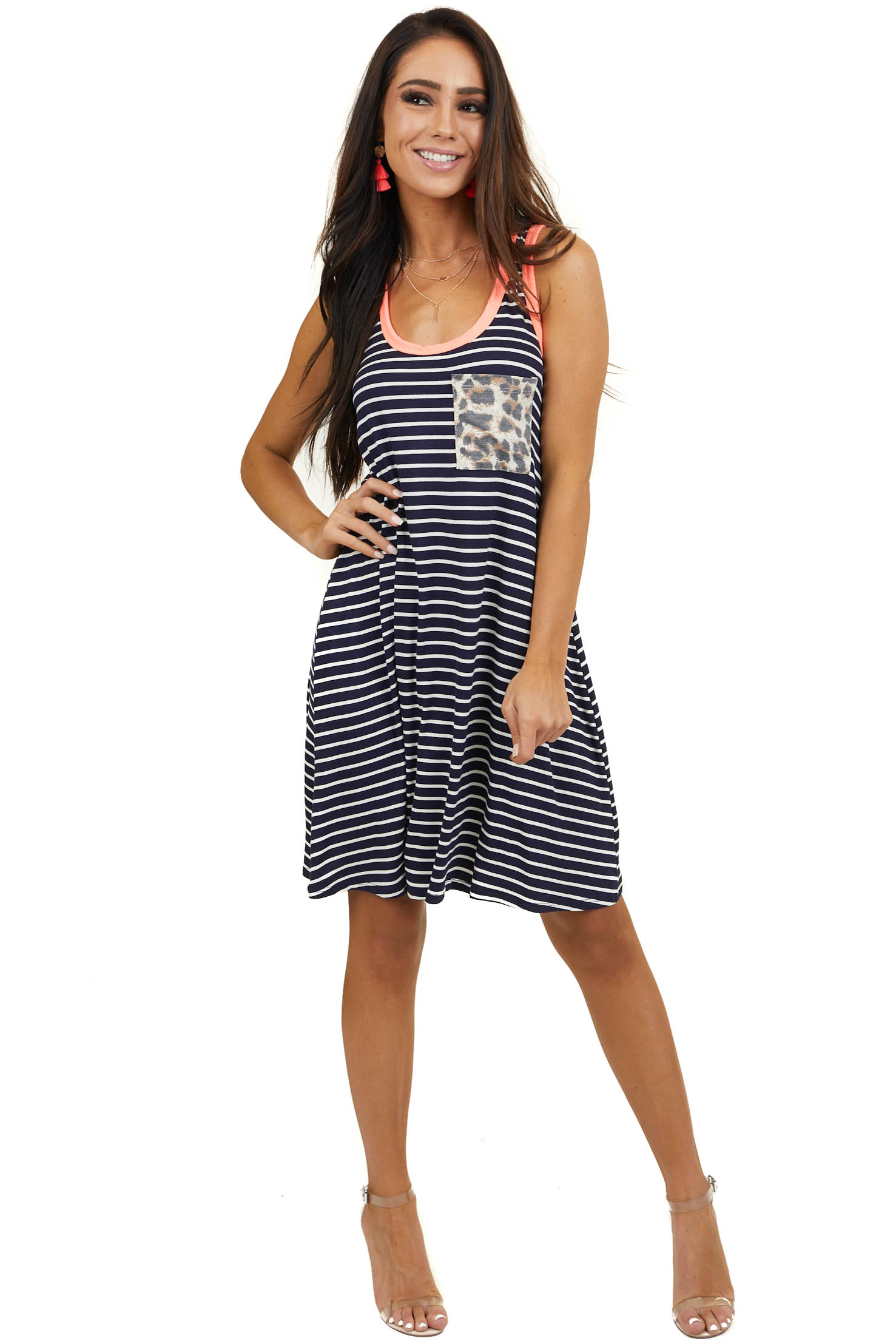 Navy Striped Sleeveless Swing Dress with Contrasting Details